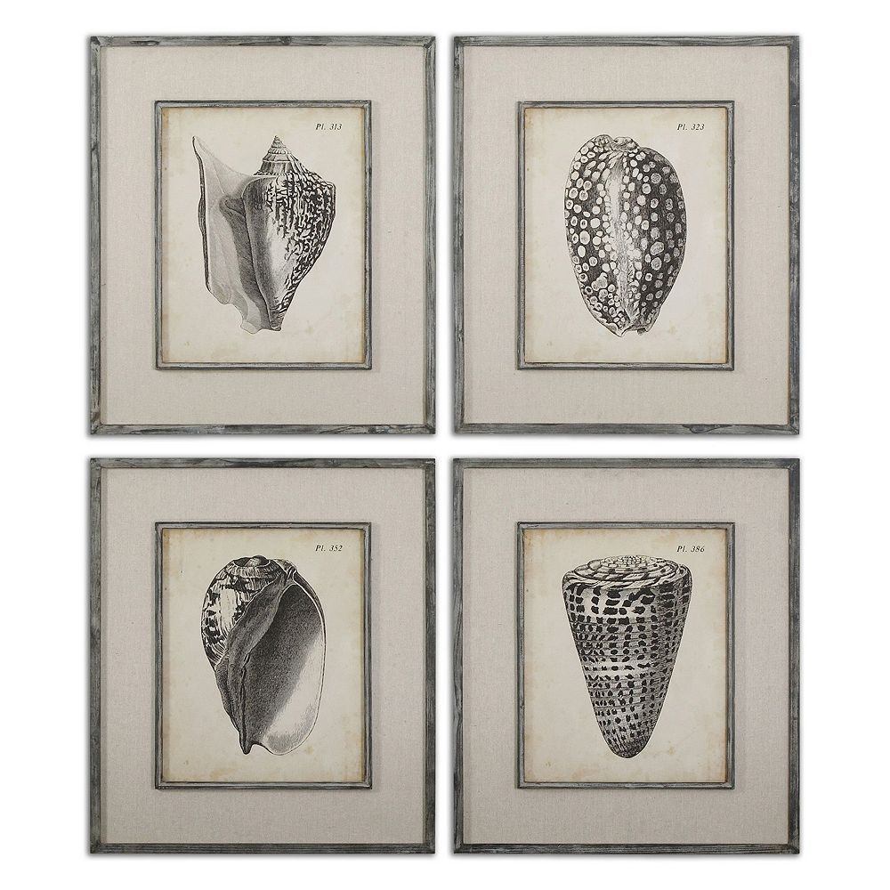 Uttermost Vintage Diderot Seashell Wall Art 4 Piece Set Pertaining To 4 Piece Metal Wall Decor Sets (View 11 of 30)