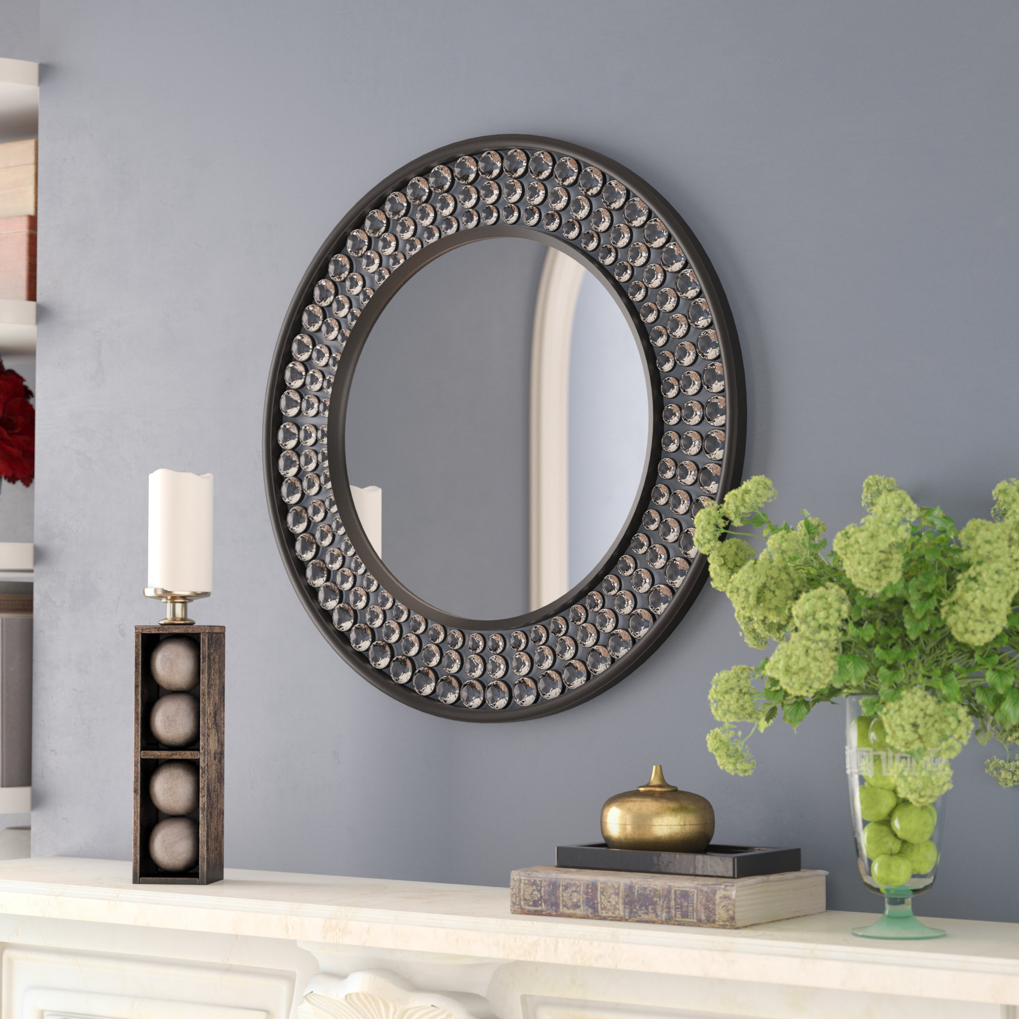 Valerian Jeweled Round Wall Mirror in Point Reyes Molten Round Wall Mirrors (Image 27 of 30)