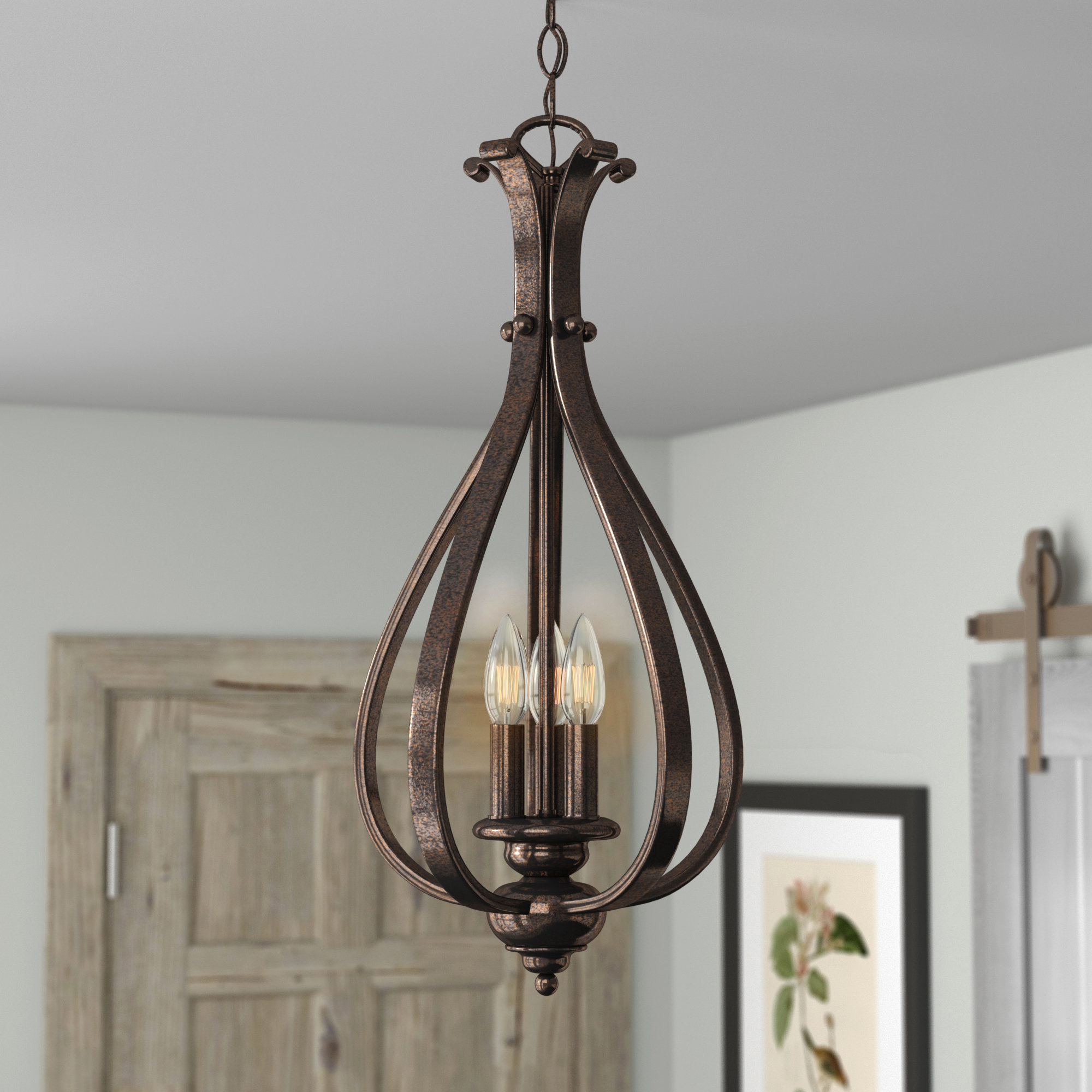 Van Horne 3 Light Foyer Pendant Within Van Horne 3 Light Single Teardrop Pendants (View 6 of 30)