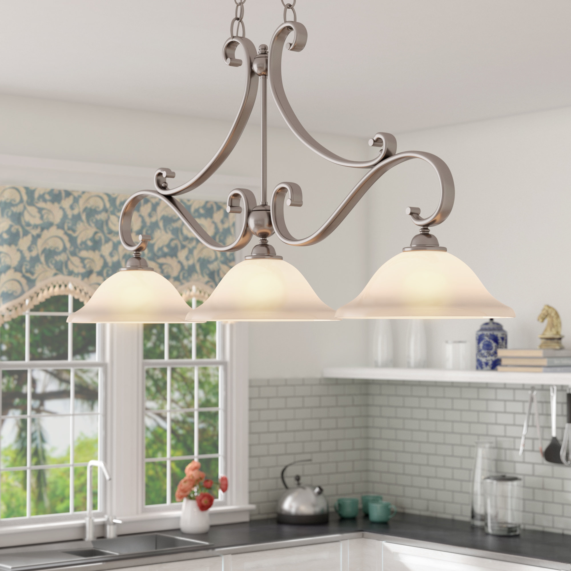 Van Horne 3 Light Kitchen Island Linear Pendant In Van Horne 3 Light Single Teardrop Pendants (View 4 of 30)