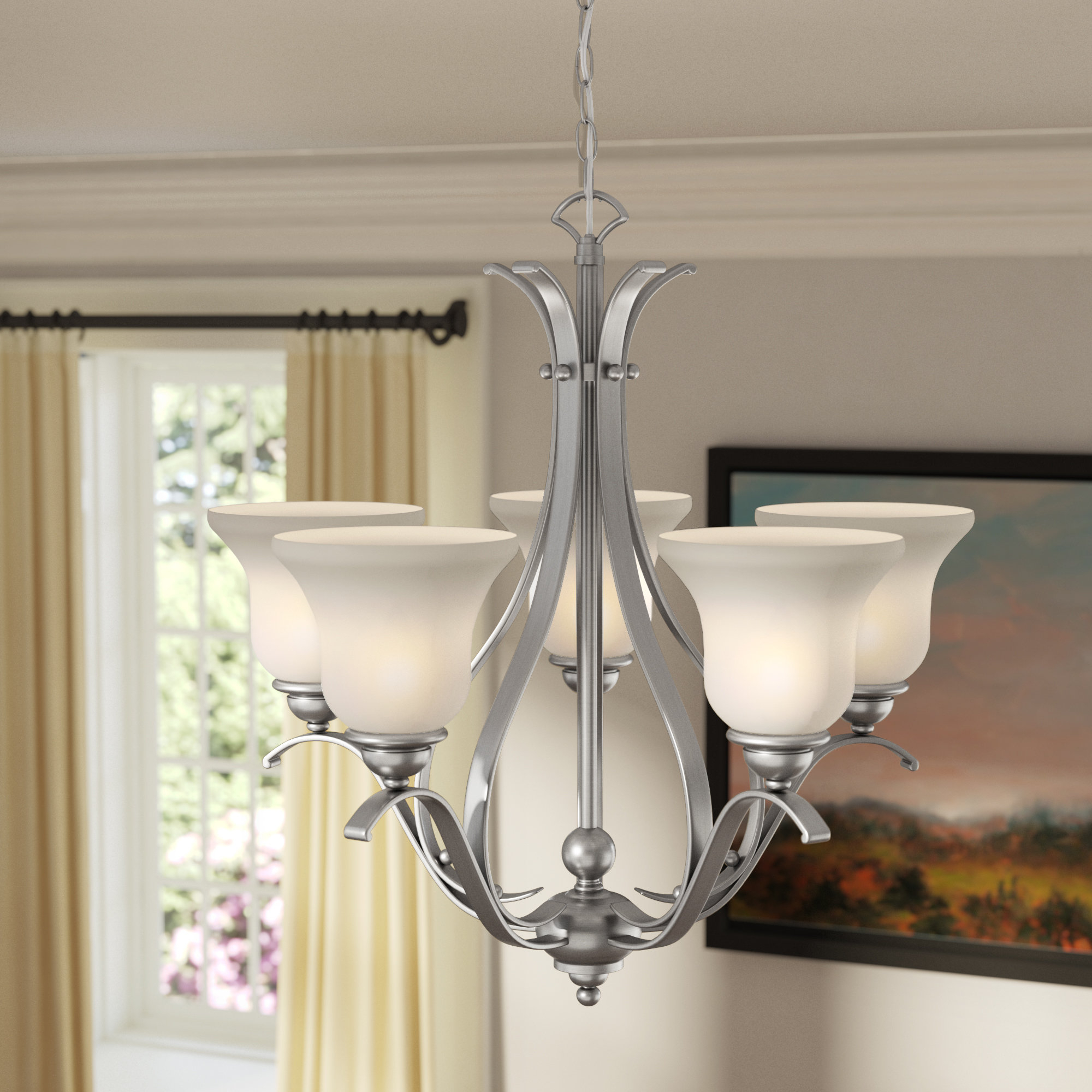 Van Horne 5 Light Shaded Chandelier Throughout Van Horne 3 Light Single Teardrop Pendants (View 13 of 30)