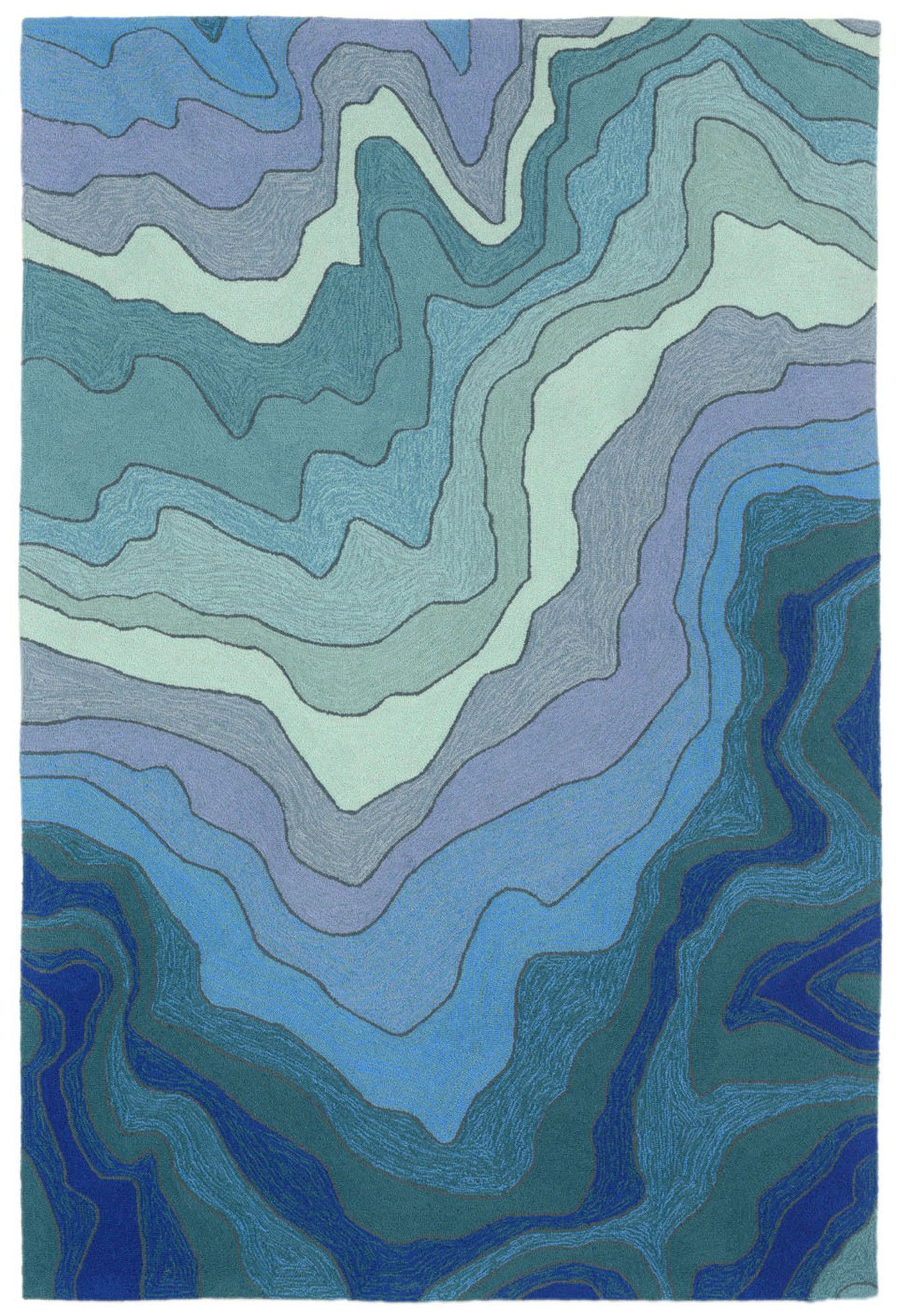 Vandenbosch Hand-Tufted Blue Indoor/outdoor Area Rug with Rhein Accent Mirrors (Image 30 of 30)