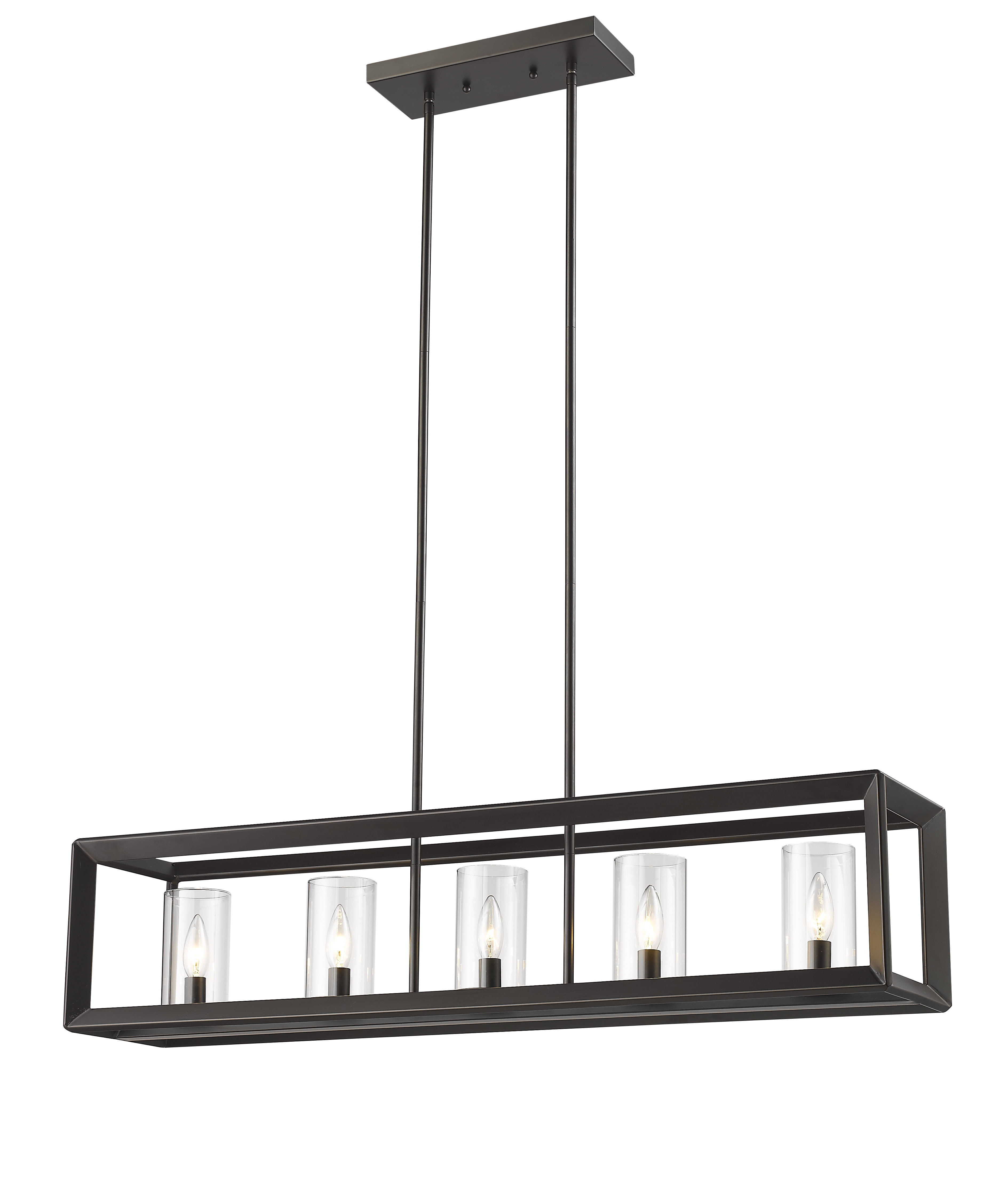 Vandoren Canyon 5-Light Kitchen Island Linear Pendant inside Odie 8-Light Kitchen Island Square / Rectangle Pendants (Image 30 of 30)