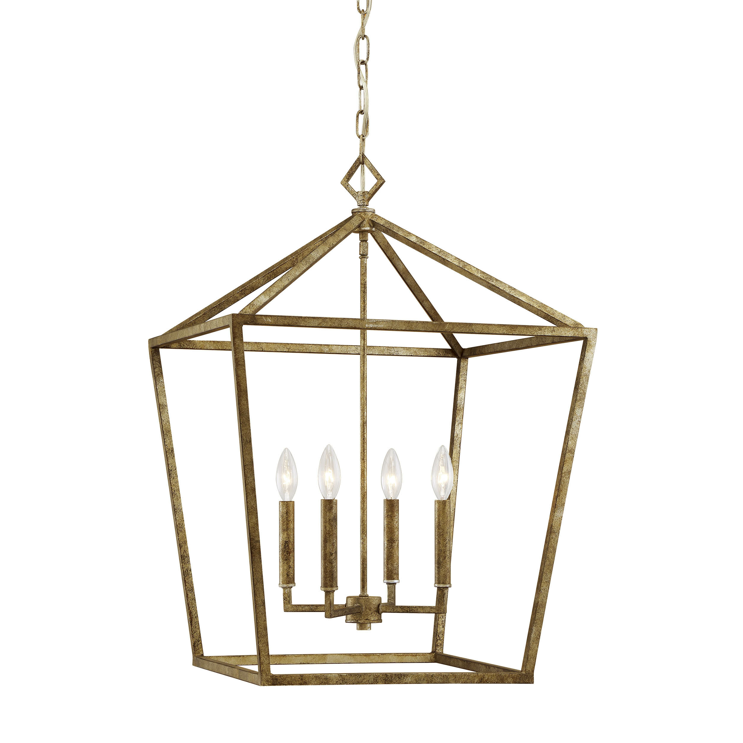 Varnum 4-Light Lantern Pendant in Isoline 2-Light Lantern Geometric Pendants (Image 29 of 30)
