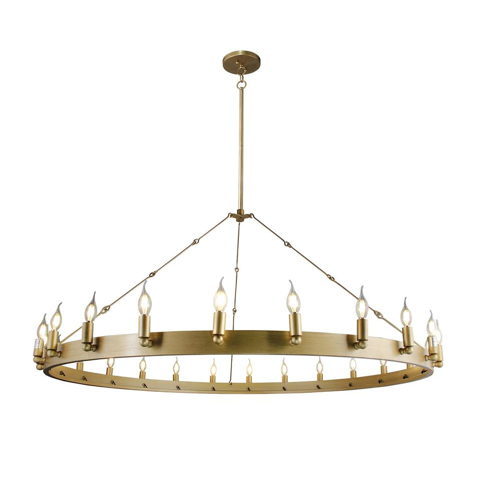 Verdun 24 Light Antique Gold Chandelier Within Kenedy 9 Light Candle Style Chandeliers (View 16 of 30)