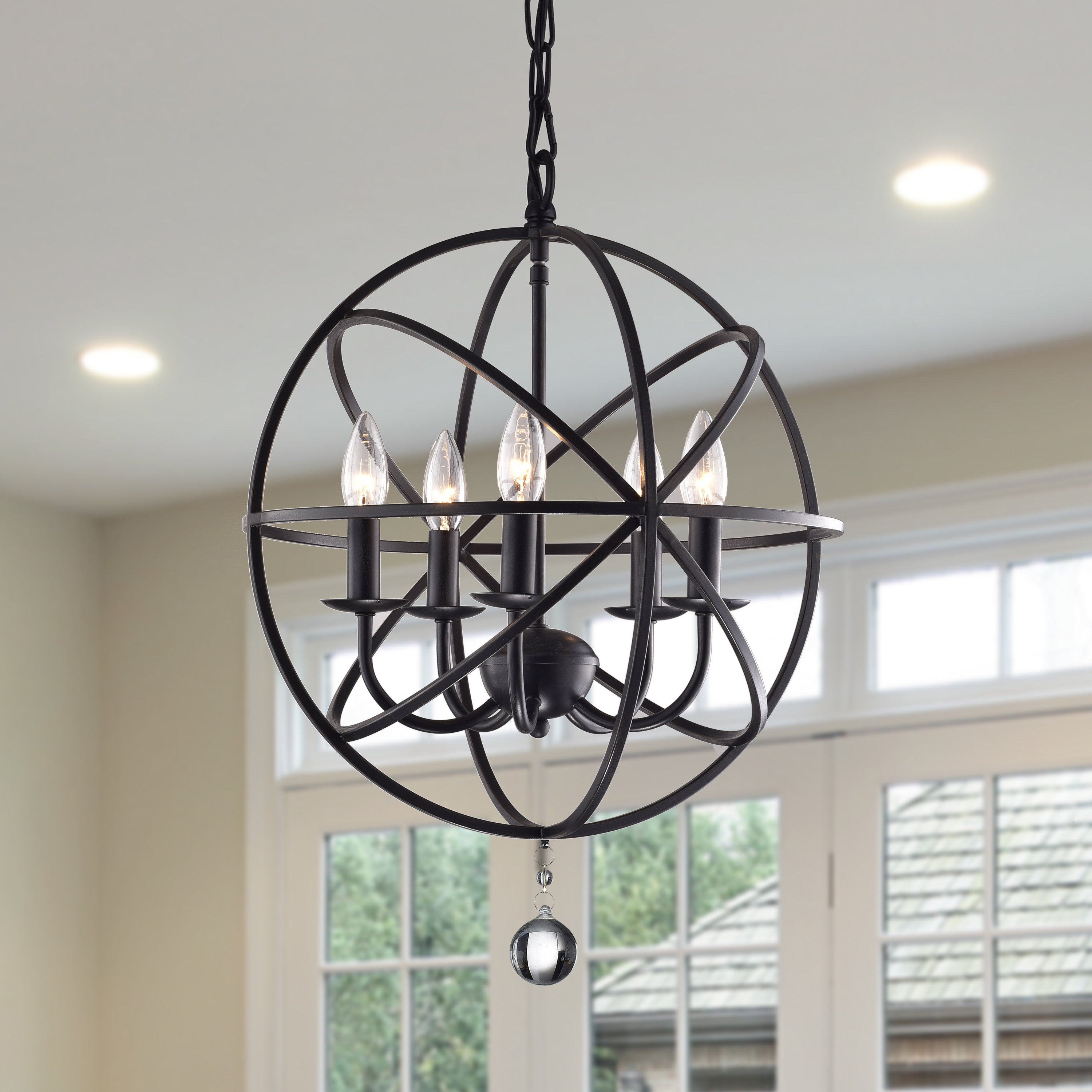 Verlene Foyer 5 Light Globe Chandelier Pertaining To Eastbourne 6 Light Unique / Statement Chandeliers (View 8 of 30)