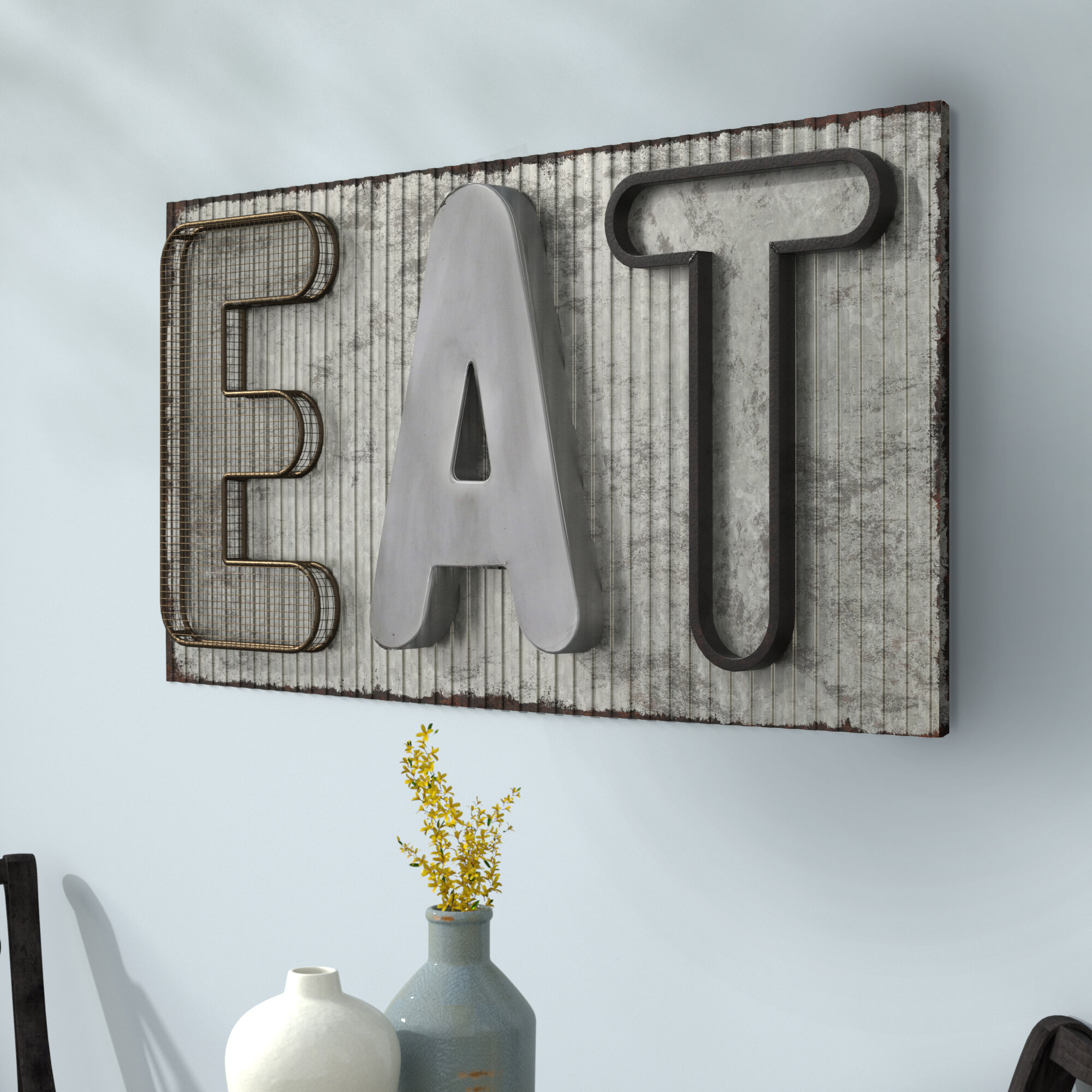Vertical Eat Sign | Wayfair Pertaining To Casual Country Eat Here Retro Wall Decor (View 10 of 30)