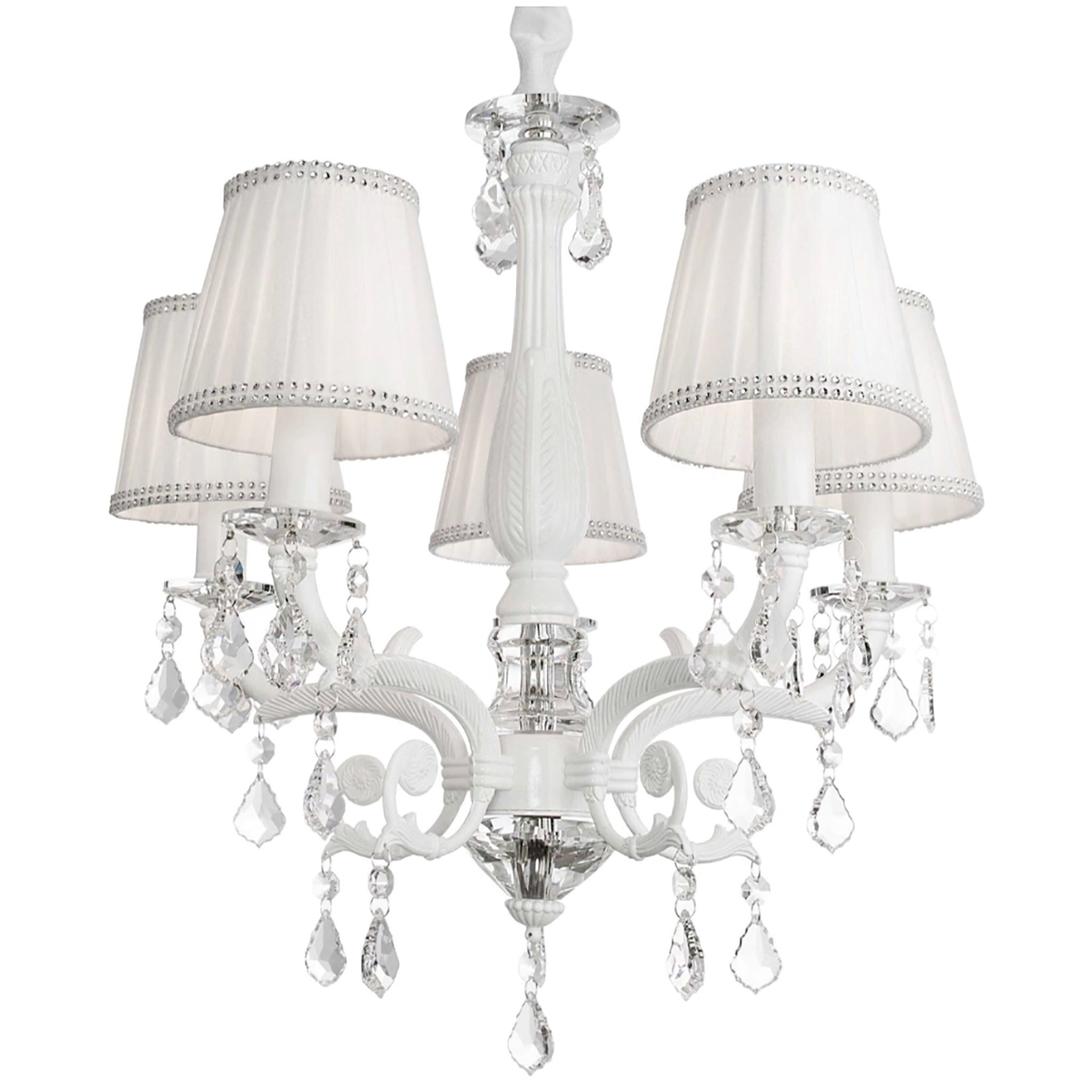 Victoria Chandelier With White Shade, 5-Light In 2019 inside Corneau 5-Light Chandeliers (Image 29 of 30)