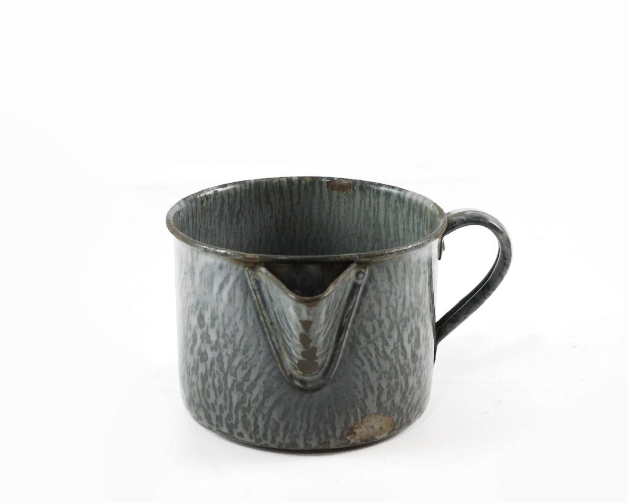 Vintage Enamel Cup With Spout, Gray Graniteware Mug, Rustic Farmhouse  Decor, Small Enamel Pitcher, Enamel Camp Coffee Cup pertaining to Decorative Three Stacked Coffee Tea Cups Iron Widget Wall Decor (Image 29 of 30)
