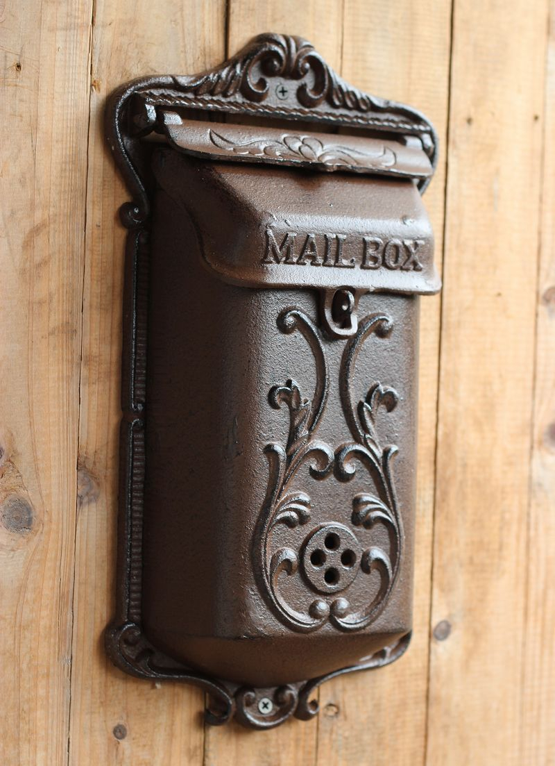 Vintage Fashion Iron Mailbox Pillar Box Wrought Iron For Lacordaire Wall Mounted Mailbox (View 21 of 30)