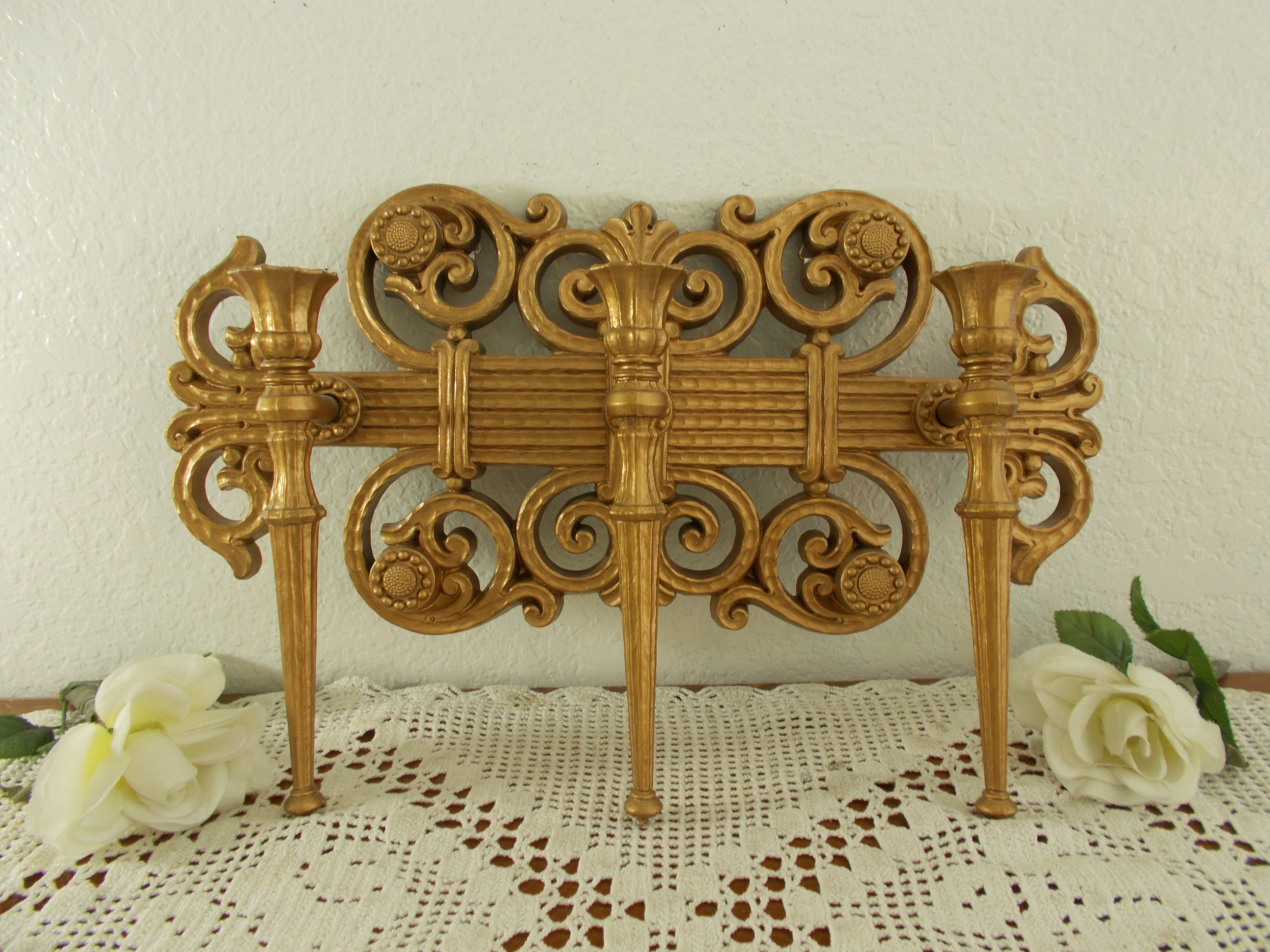 Vintage Gold Taper Candelabra Ornate Scroll Wall Decoration Mid Century  Hollywood Regency French Country Farmhouse Retro Home Decor Wedding throughout Ornate Scroll Wall Decor (Image 27 of 30)