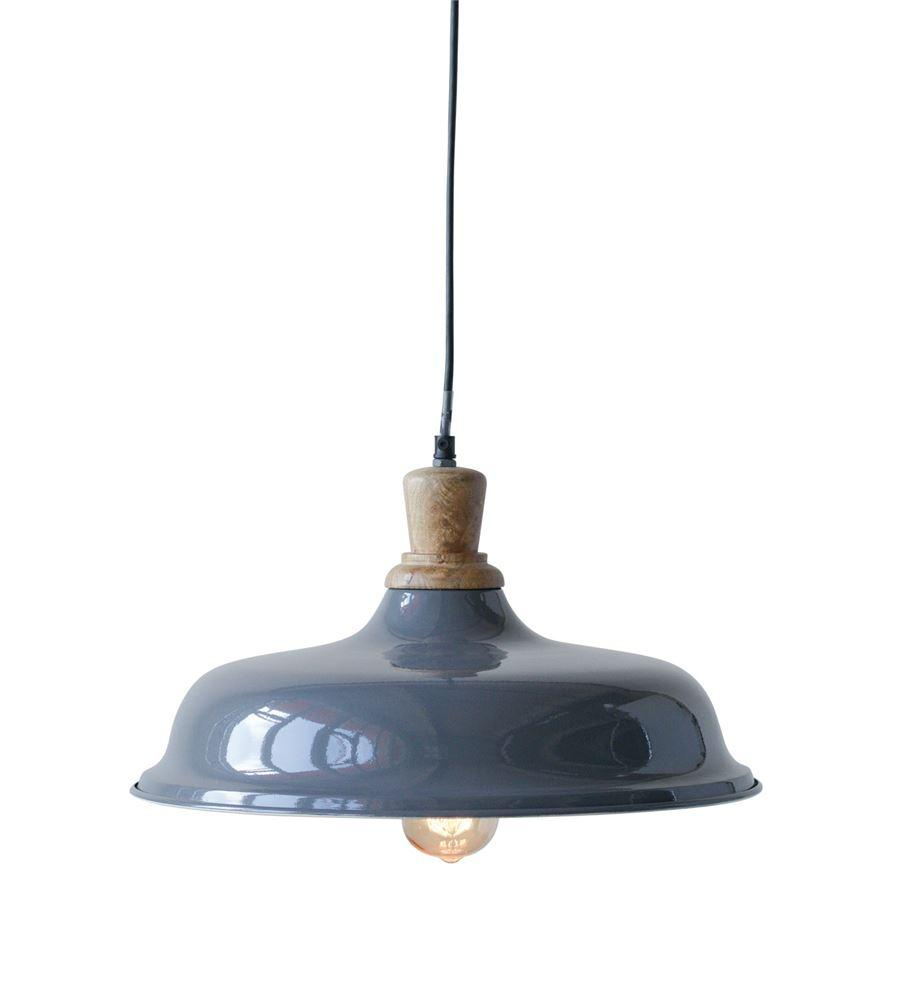 Vintage Industrial, Barn Style Metal And Wood Pendant Light Intended For Stetson 1 Light Bowl Pendants (View 30 of 30)