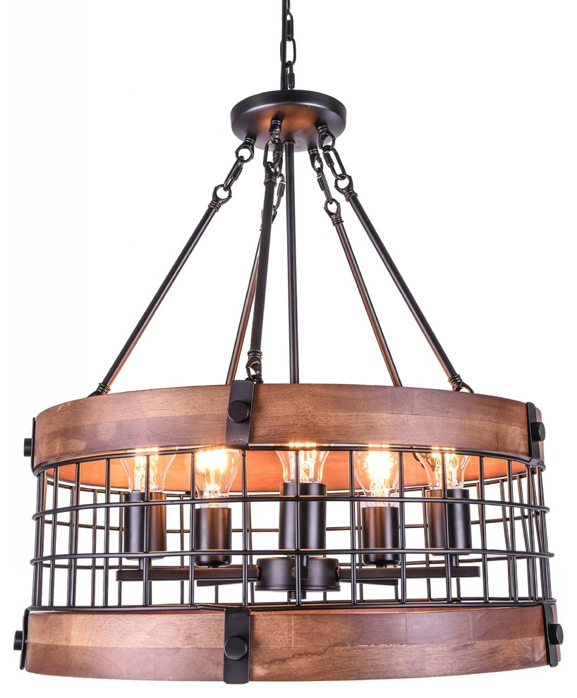Vintage Industrial Dome Wood Chandelier With 5 Lamps With Hayden 5 Light Shaded Chandeliers (View 23 of 30)