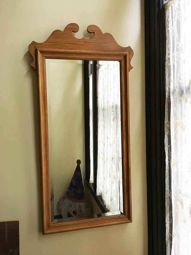 Vintage Mirror For Wall Mirror Antique Mirror Old Mirror Wood Mirror Hall Mirror Bedroom Mirror Beveled Mirror Traditional Decor Chippendale Pertaining To Polen Traditional Wall Mirrors (View 12 of 30)