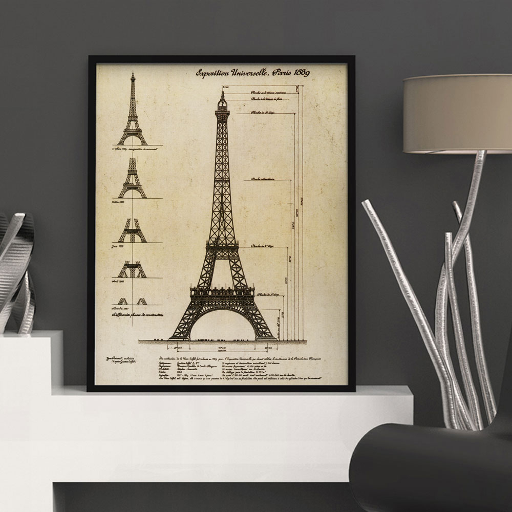 Vintage Pairs La Tour Eiffel Buliding Map 1889 Wall Art Wall Intended For Latour Wall Decor (View 2 of 30)