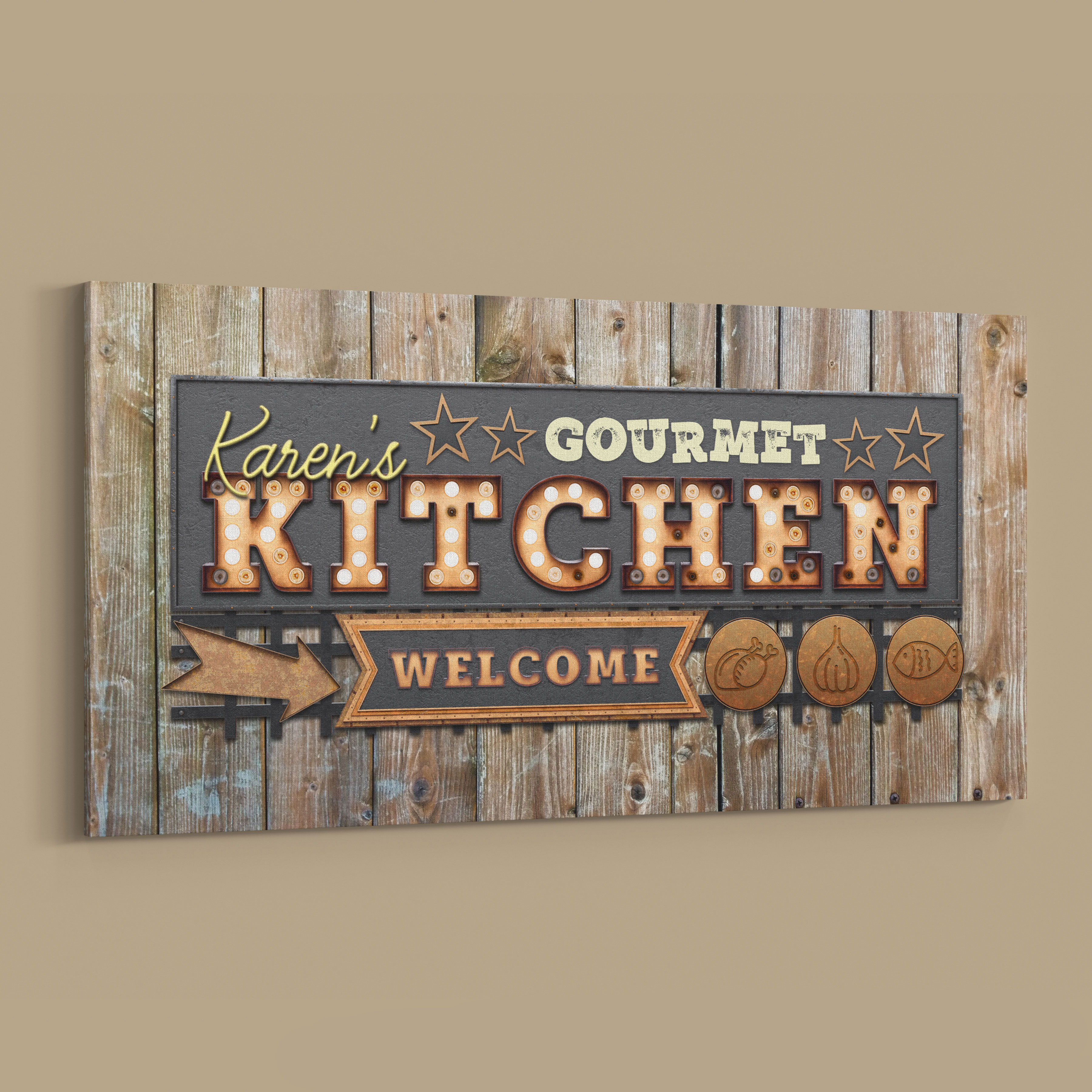 Vintage Style Personalised Gourmet Kitchen Canvas Wall Art Inside Personalized Distressed Vintage Look Kitchen Metal Sign Wall Decor (View 16 of 30)