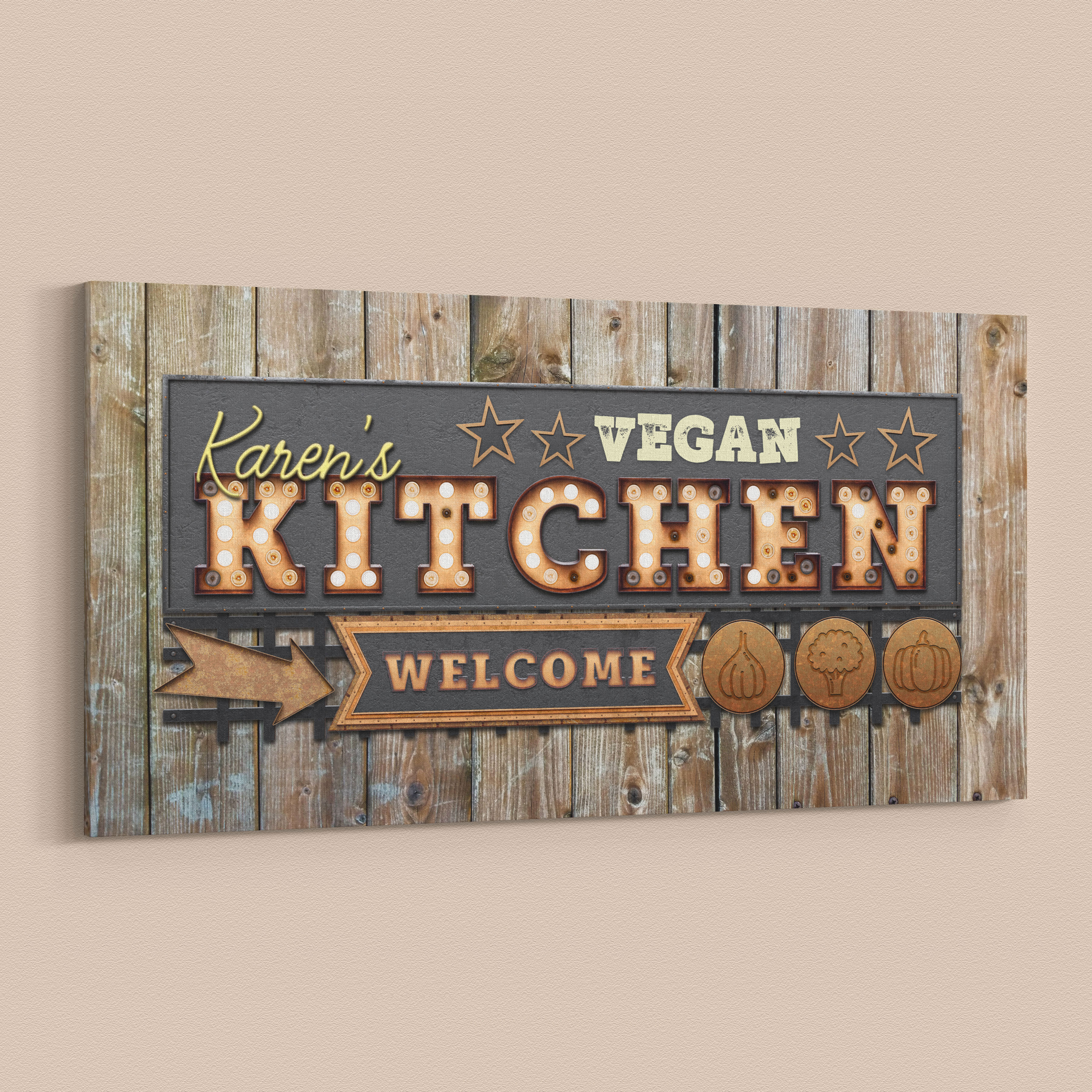 Vintage Style Personalised Vegan Kitchen Canvas Wall Art In Personalized Distressed Vintage Look Kitchen Metal Sign Wall Decor (View 10 of 30)