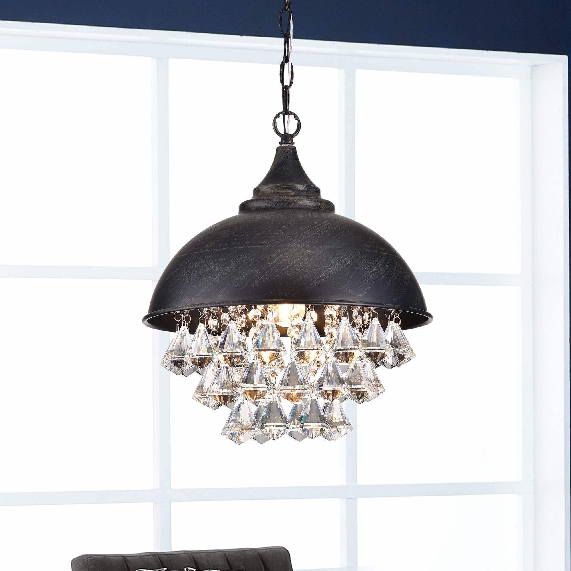 Visalia Antique Black Single Light Crystal Chandelier Within Monadnock 1 Light Single Dome Pendants (View 30 of 30)