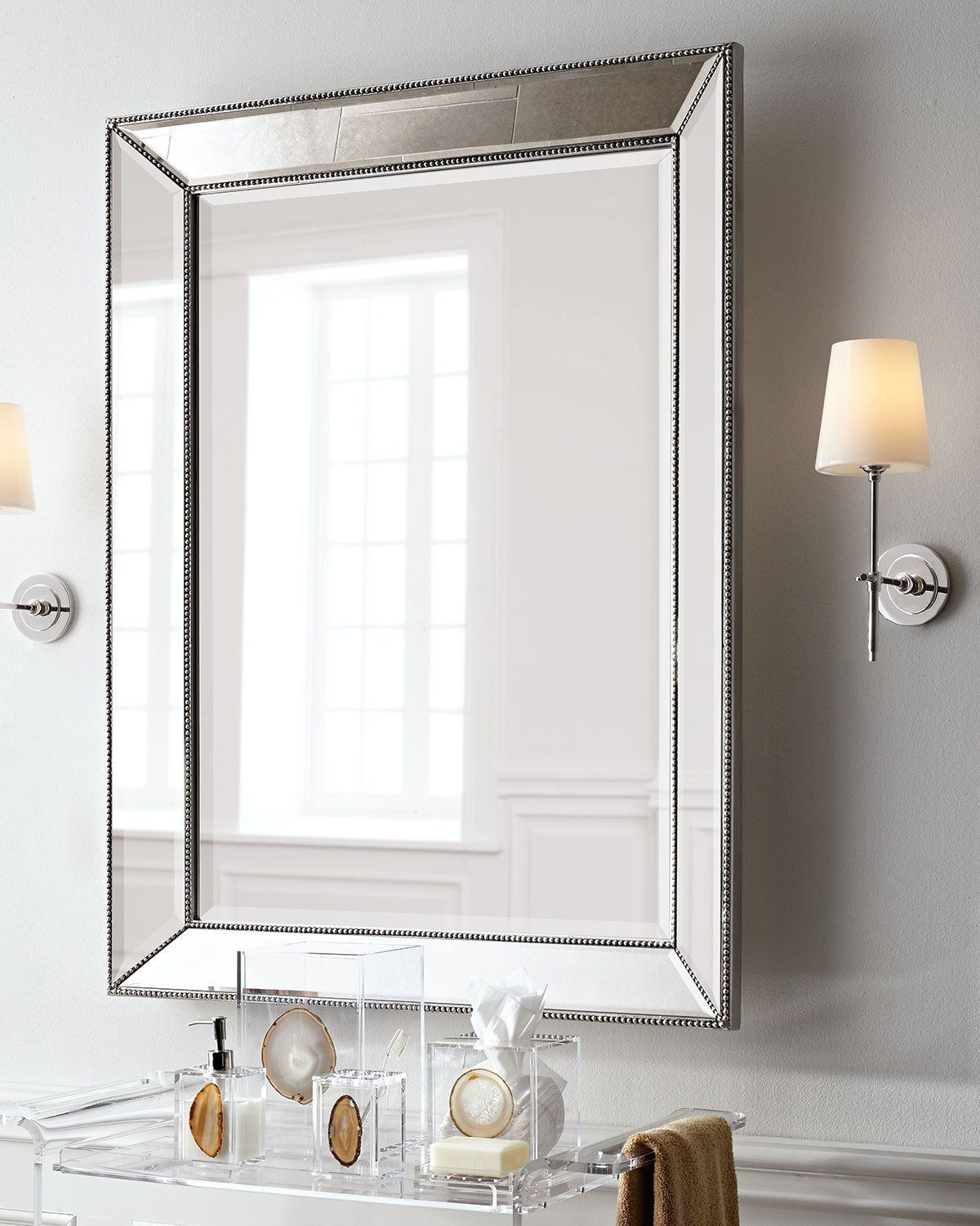 Visual Comfort Bryant Sconce With Polished Nickel Finish In In Lake Park Beveled Beaded Accent Wall Mirrors (View 29 of 30)