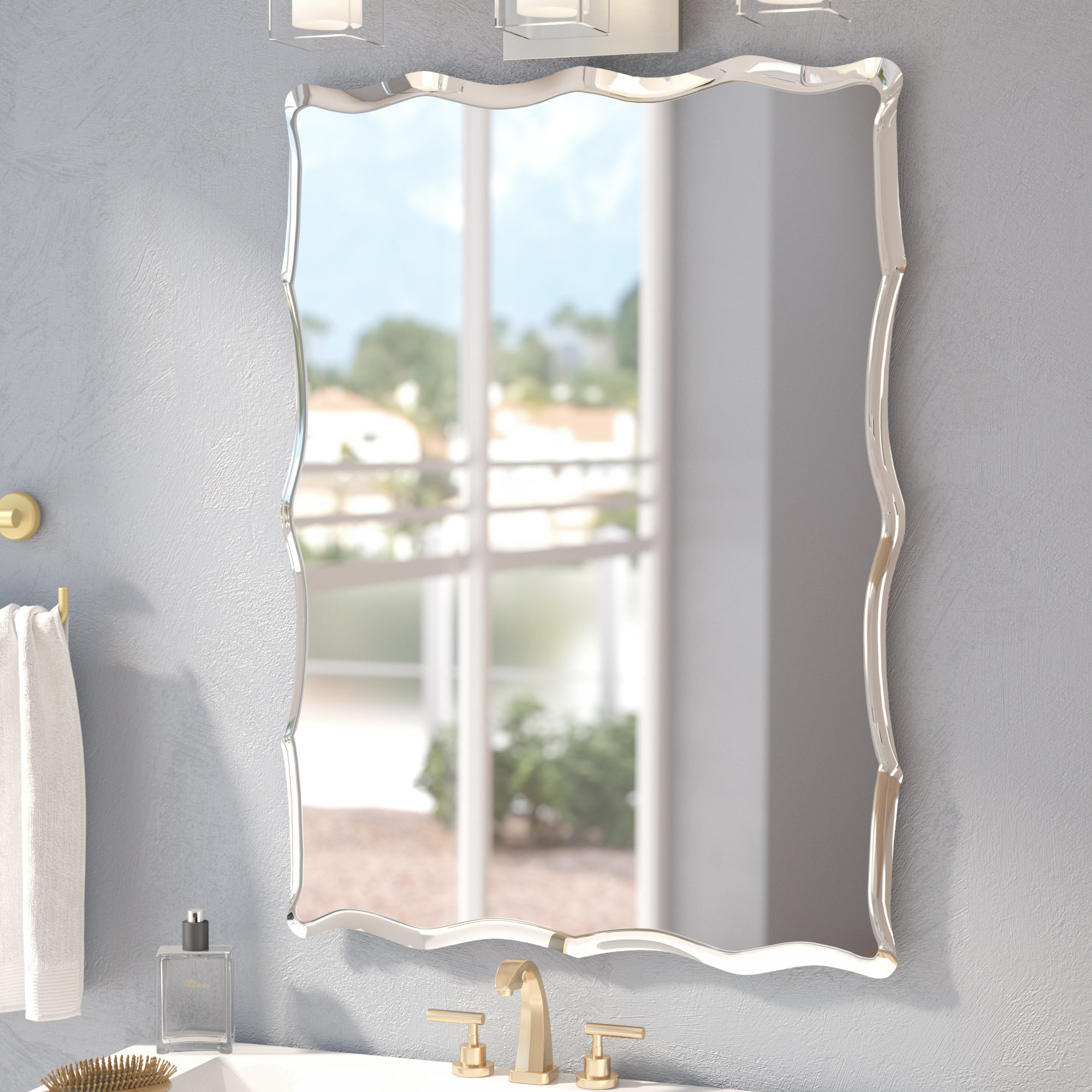 Wade Logan Estefania Frameless Wall Mirror & Reviews | Wayfair regarding Estefania Frameless Wall Mirrors (Image 28 of 30)
