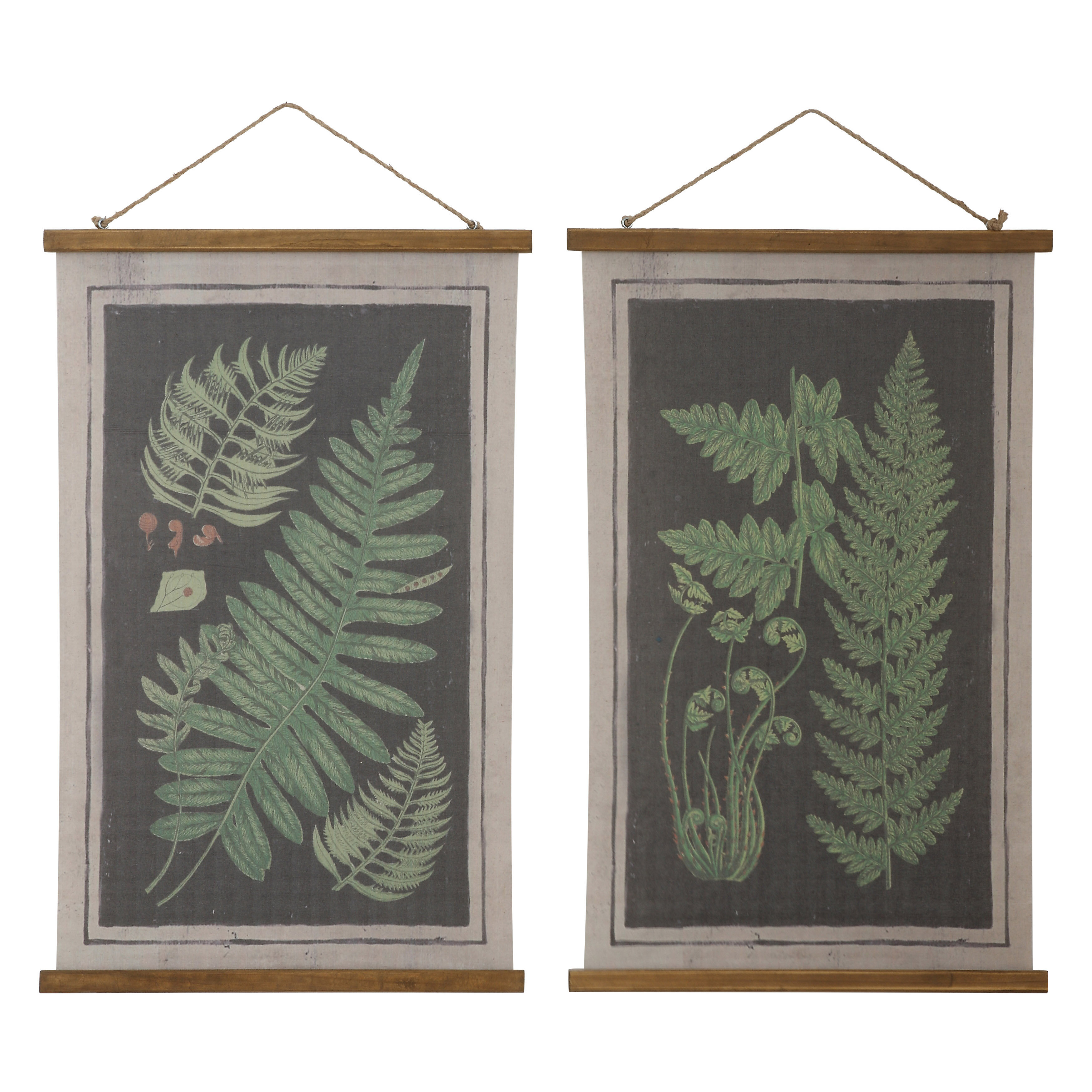 Wafford 'fern Scrolls Wall Decor' 2 Piece Graphic Art Print Set On Canvas In Green/black Pertaining To Scroll Framed Wall Decor (View 30 of 30)