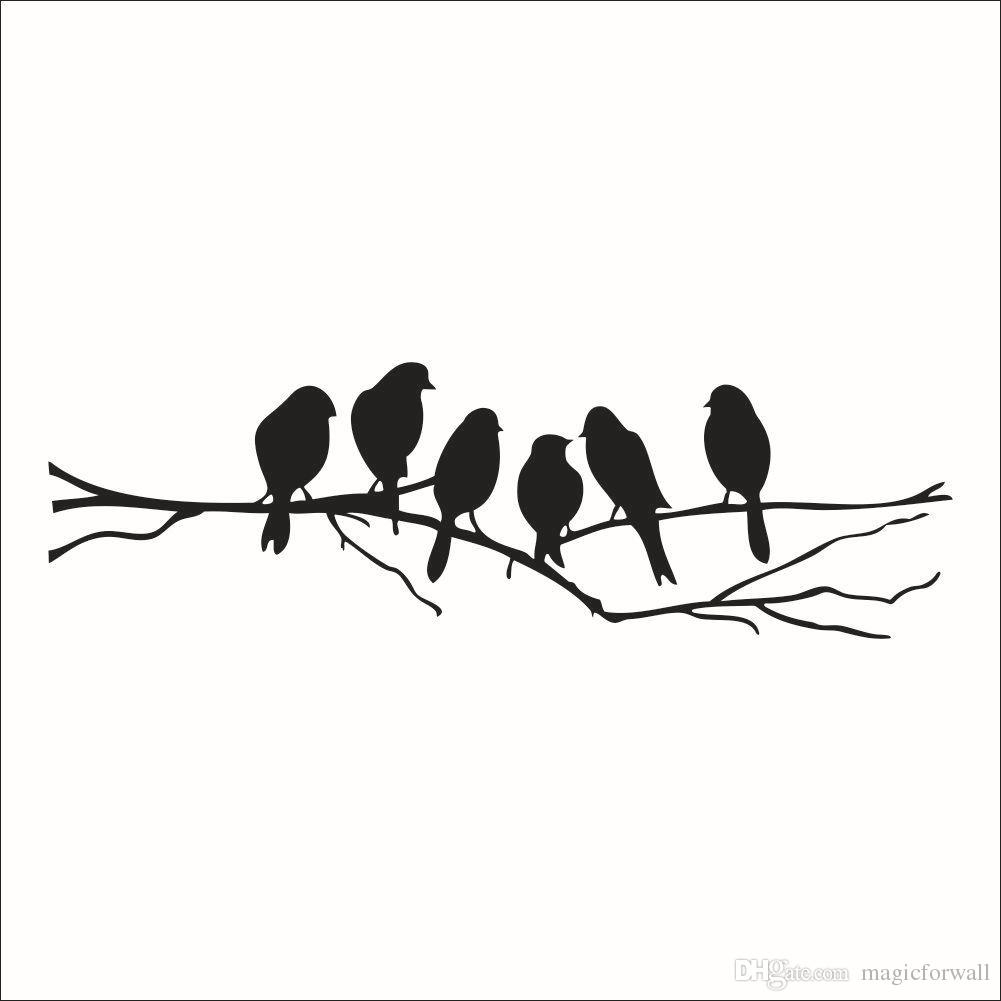 Wall Art Mural Decor Sticker Black Cute Birds On The Branch Wall Decal Poster Living Room Bedroom Wall Decoration Stick Paper Pertaining To Birds On A Branch Wall Decor (View 12 of 30)