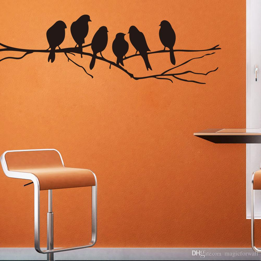 Wall Art Mural Decor Sticker Black Cute Birds On The Branch Wall Decal Poster Living Room Bedroom Wall Decoration Stick Paper With Birds On A Branch Wall Decor (View 14 of 30)