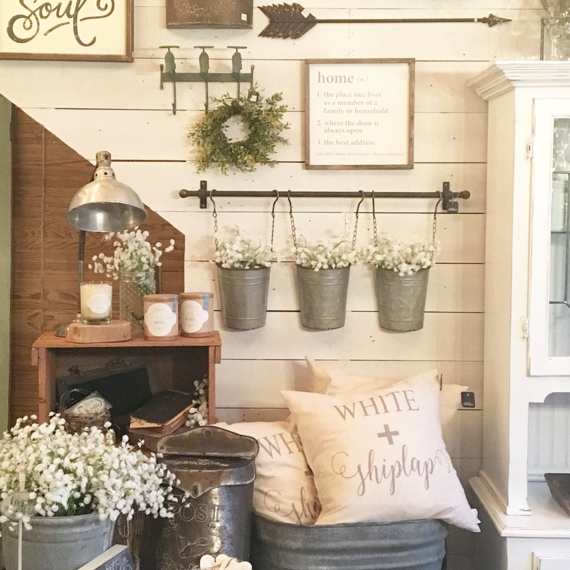 Wall Collage With Reclaimed Metal Farm Fixtures | Decorating for Farm Metal Wall Rack and 3 Tin Pot With Hanger Wall Decor (Image 27 of 30)