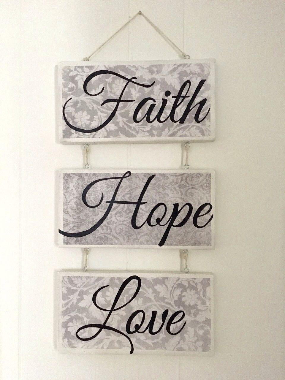Wall Decor Sign, Faith Hope Love Signmarywarmth On Etsy Inside Faith, Hope, Love Raised Sign Wall Decor (View 2 of 30)