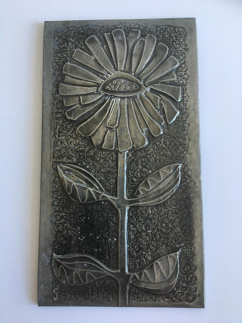 Wall Decor / St Just/ Jean Cole / Wood/ Metal / Flower/nature/picture /70s/mid Century Cornwall/ Metalwork Within Wall Decor By Cole & Grey (View 19 of 30)
