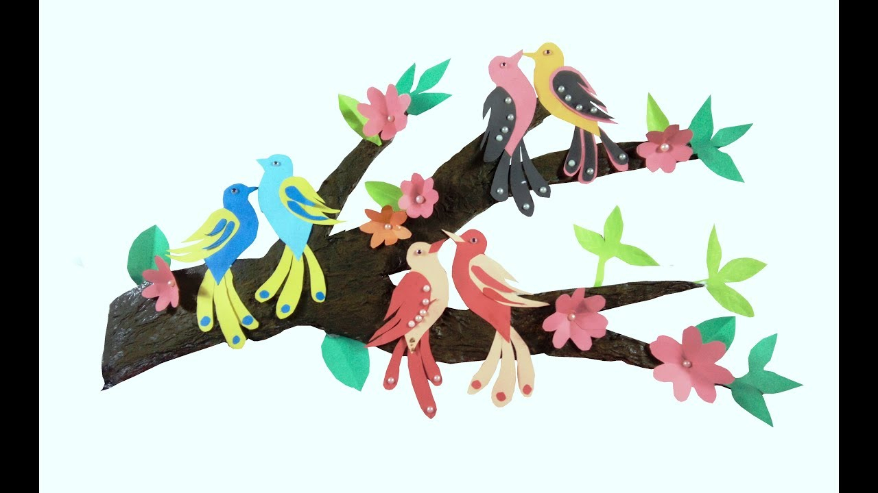 Wall Decor With Tree Branches / Wall Decoration With Birds / Diy Tree Branch Decor With Birds On A Branch Wall Decor (View 17 of 30)