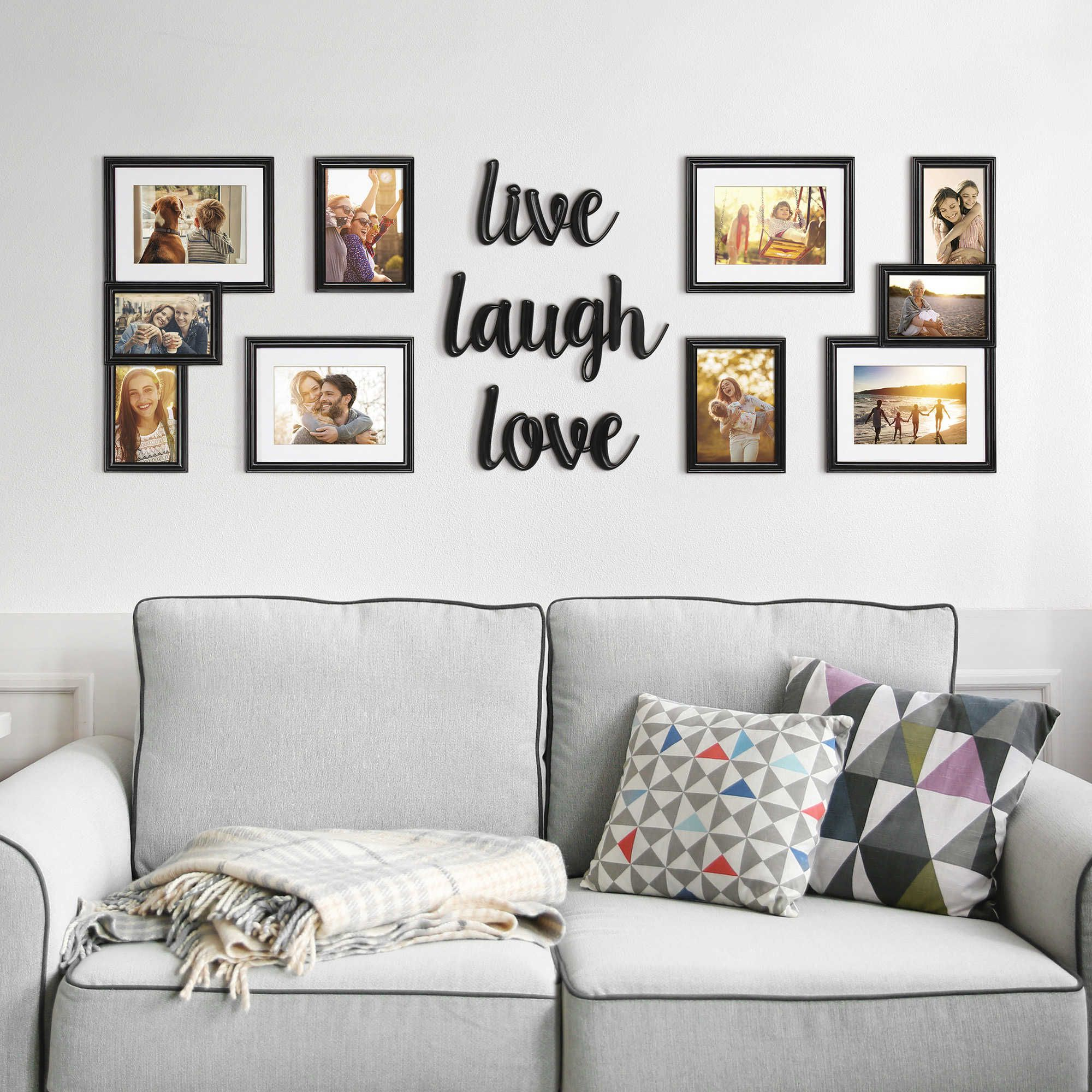 """Wallverbs® 9 Piece """"live Love Laugh"""" Photo Frame Set With Regard To Live Love Laugh 3 Piece Black Wall Decor Sets (View 12 of 30)"""