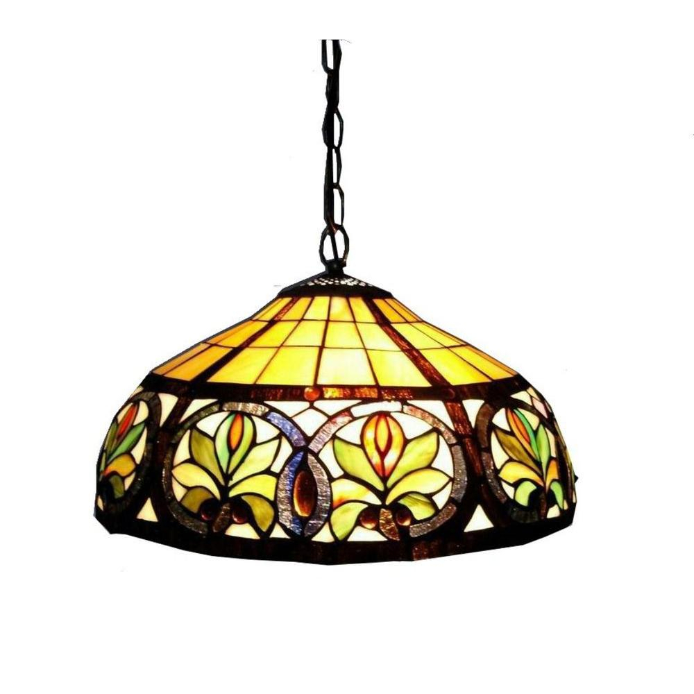 Warehouse Of Tiffany 2 Light Antique Bronze Hanging Pendant With Classic  Stained Glass Within Ariel 2 Light Kitchen Island Dome Pendants (Image 29 of 30)