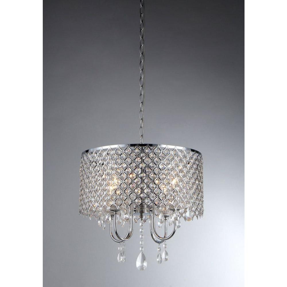 Warehouse Of Tiffany Angelina 4-Light Chrome Crystal Chandelier With Shade for Aldgate 4-Light Crystal Chandeliers (Image 28 of 30)