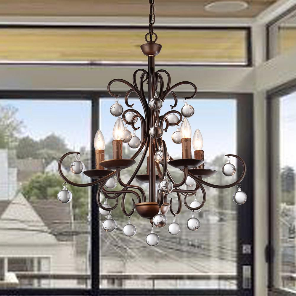 Warehouse Of Tiffany Grace Crystal Drop Curved 5-Light Antique Bronze  Chandelier with Sherri 6-Light Chandeliers (Image 28 of 30)