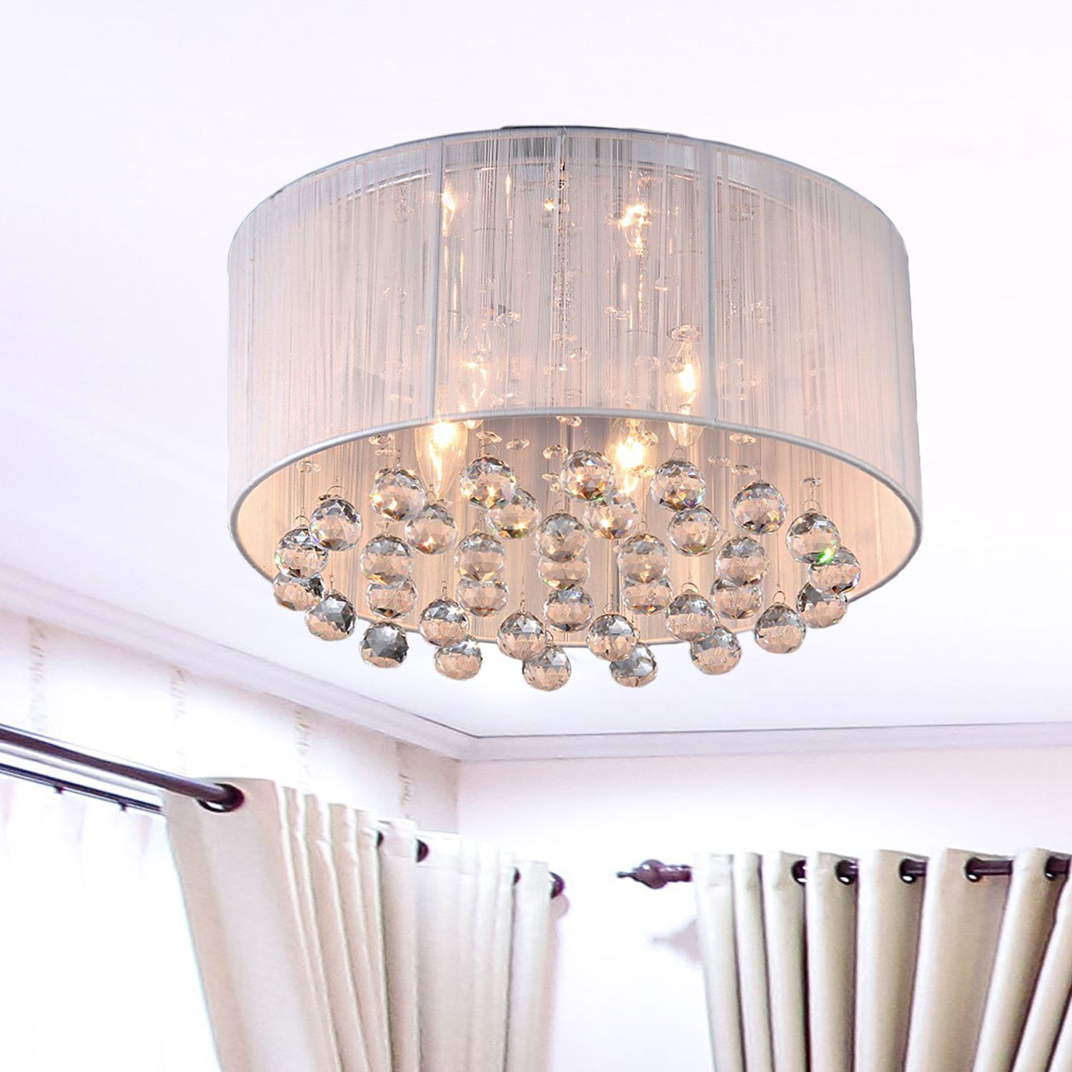 Warehouse Of Tiffany Optimus White Fabric 17-Inch 4-Light for Aurore 4-Light Crystal Chandeliers (Image 30 of 30)