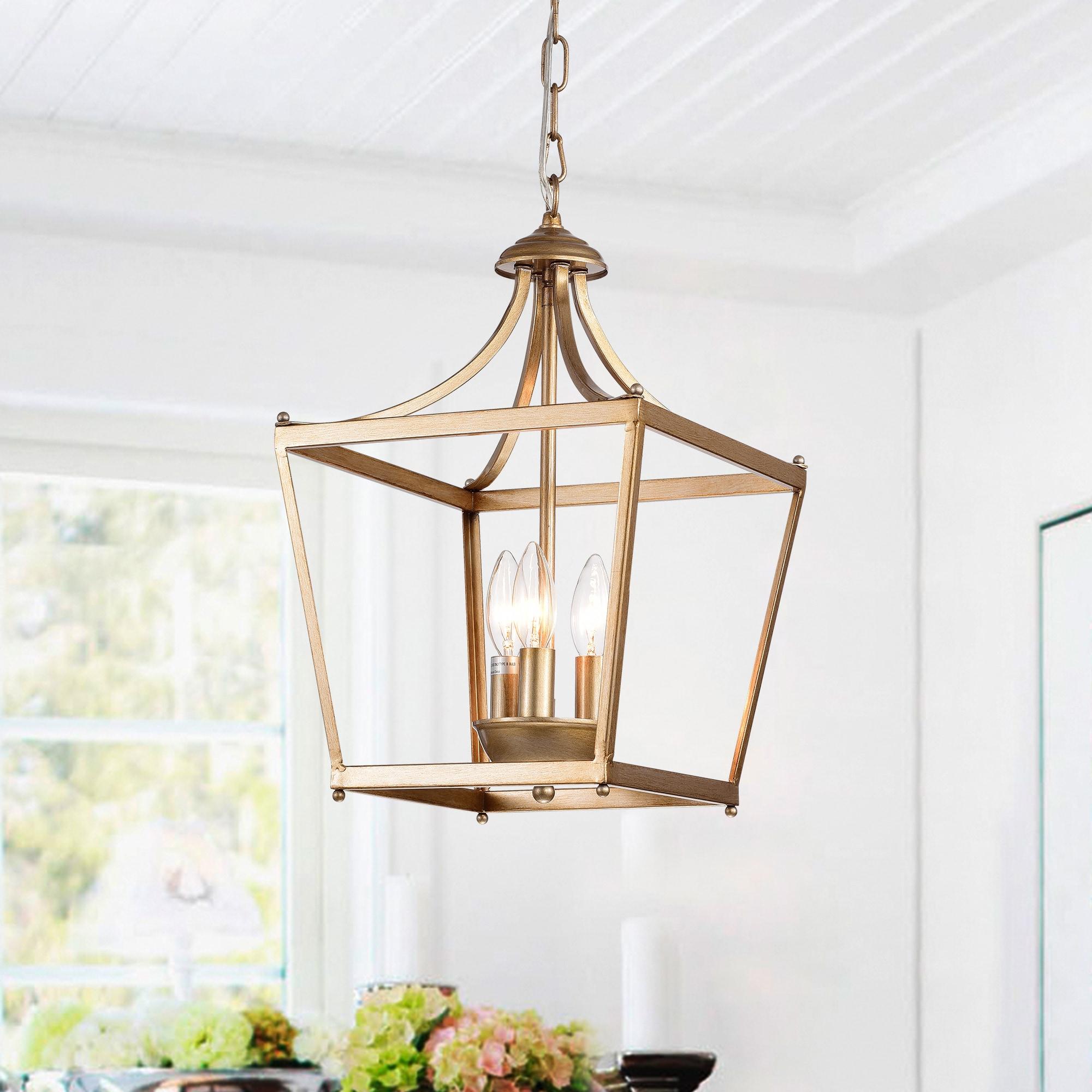 Warehouse Of Tiffany Sunsus Gold 3 Light Lantern Pendant (11 For Destrey 3 Light Lantern Square/rectangle Pendants (View 21 of 30)