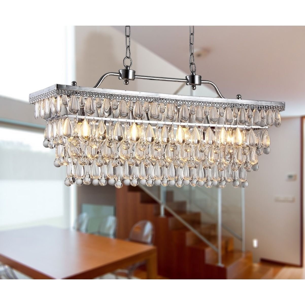 Warehouse Of Tiffany Willow 4 Light Crystal 30 Inch Chrome Regarding Gracelyn 8 Light Kitchen Island Pendants (View 8 of 30)