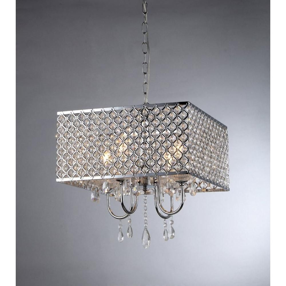 Warehouse Of Tiffany Zarah 4 Light Chrome Crystal Chandelier With Regard To Albano 4 Light Crystal Chandeliers (Image 27 of 30)