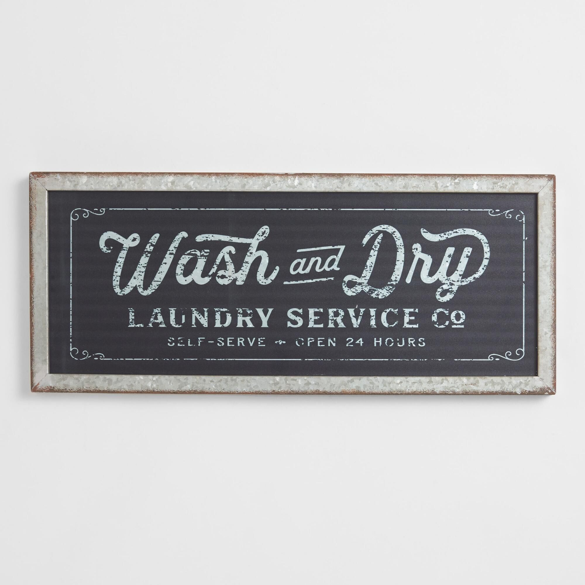 Wash And Dry Galvanized Metal Signworld Market Within Metal Laundry Room Wall Decor (View 15 of 30)