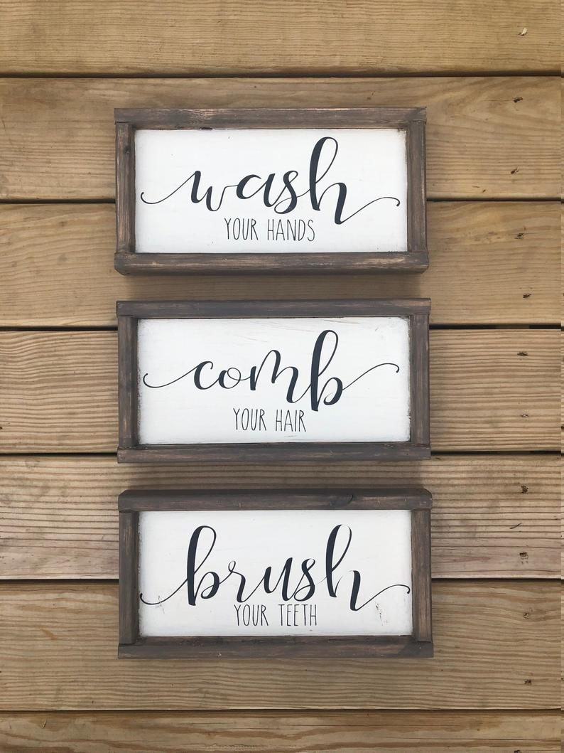 Wash Your Hands – Comb Your Hair – Brush Your Teeth – Farmhouse Bathroom Signs – Kids Bathroom Signs – Bathroom Signs With Regard To 3 Piece Wash, Brush, Comb Wall Decor Sets (set Of 3) (View 24 of 30)