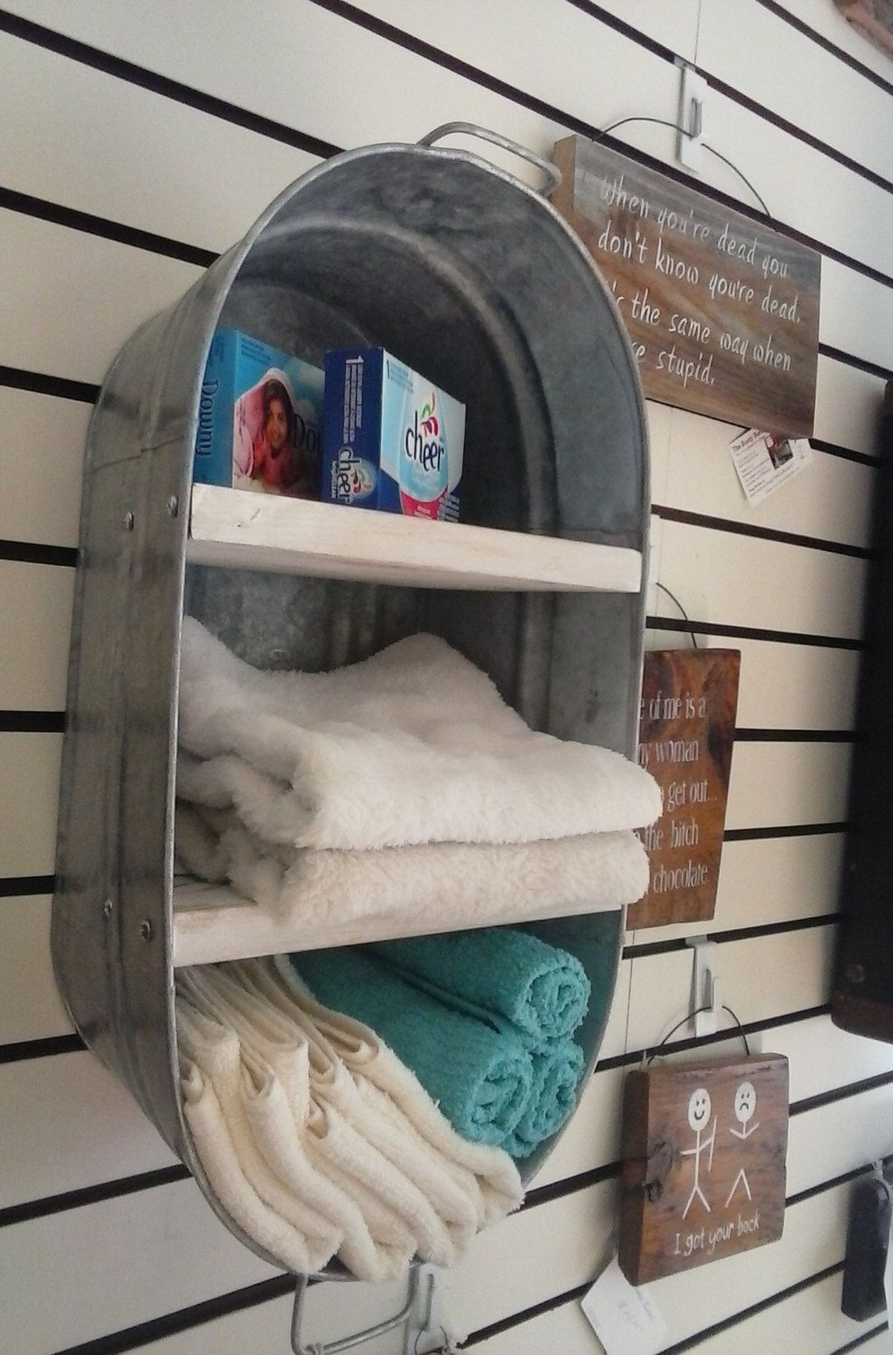 Washtub Bucket Upcycled Hanging Wall Shelf Cupboard Towel within Farm Metal Wall Rack and 3 Tin Pot With Hanger Wall Decor (Image 29 of 30)