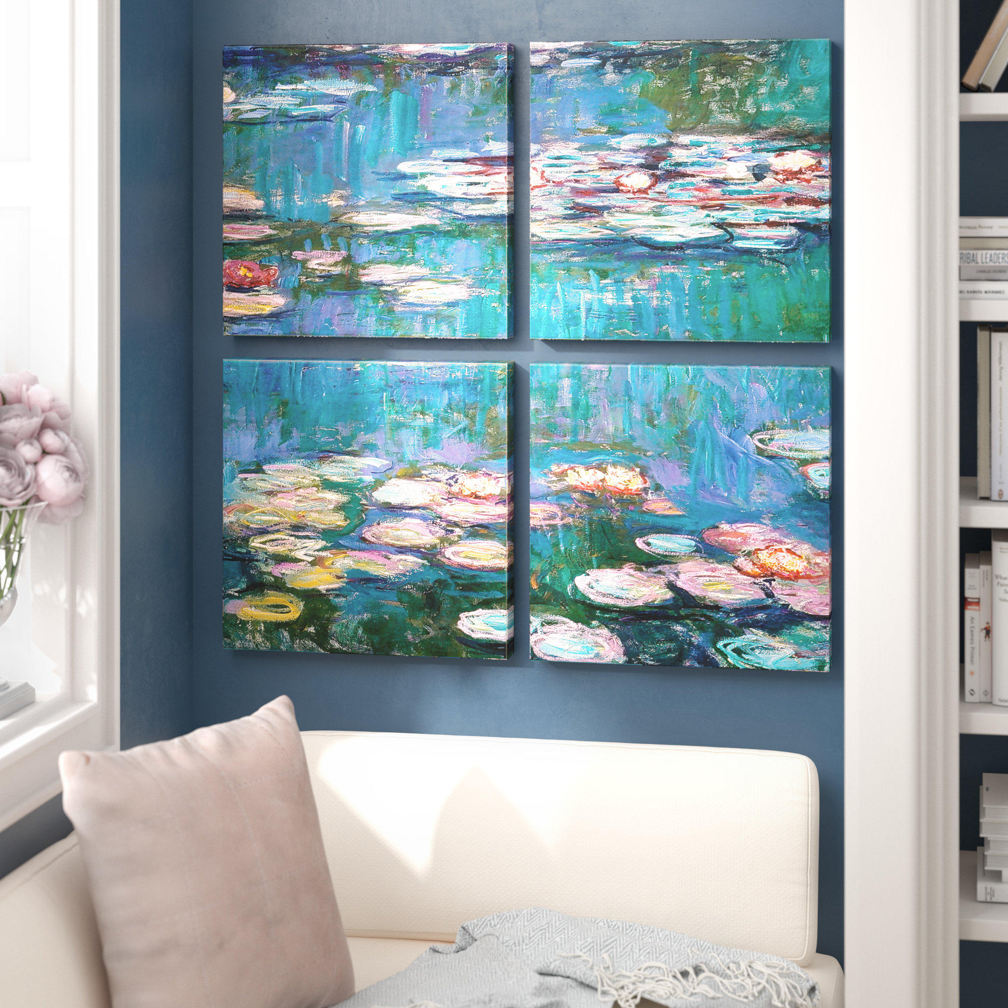 'water Lilies'claude Monet 4 Piece Painting Print On Canvas Set In 4 Piece Wall Decor Sets By Charlton Home (View 9 of 30)