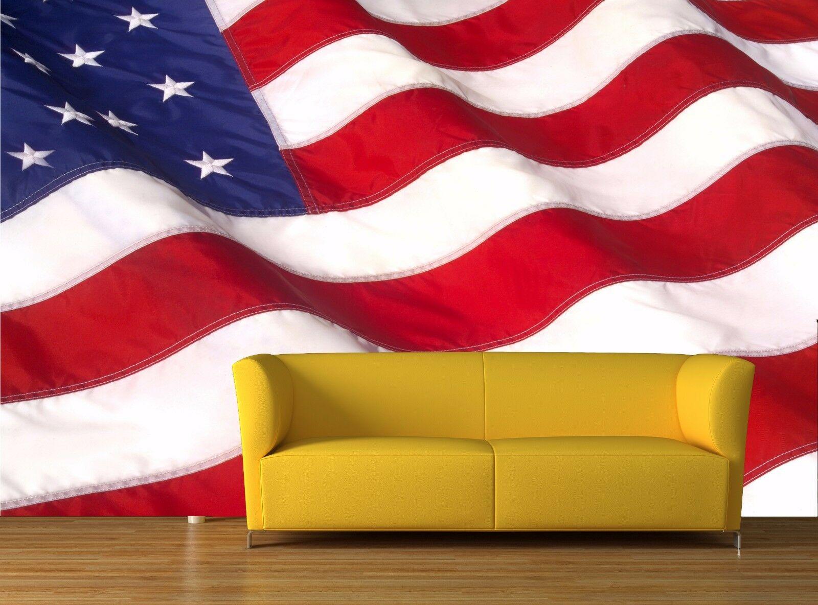 Waving American Flag 3D Mural Photo Wallpaper Decor Large Paper Wall In American Flag 3D Wall Decor (Image 28 of 30)