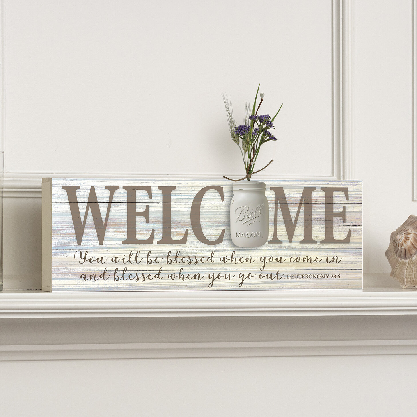 """Welcome Mason Jar Word Box Plaque Wall Décor with regard to In-a-Word """"welcome"""" Wall Decor (Image 24 of 30)"""