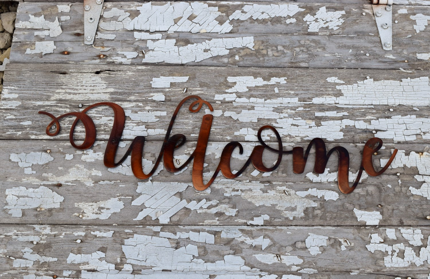 """Welcome - Metal Script Wall Decor- Metal Words - Copper Metal Script Words pertaining to In-a-Word """"welcome"""" Wall Decor (Image 22 of 30)"""