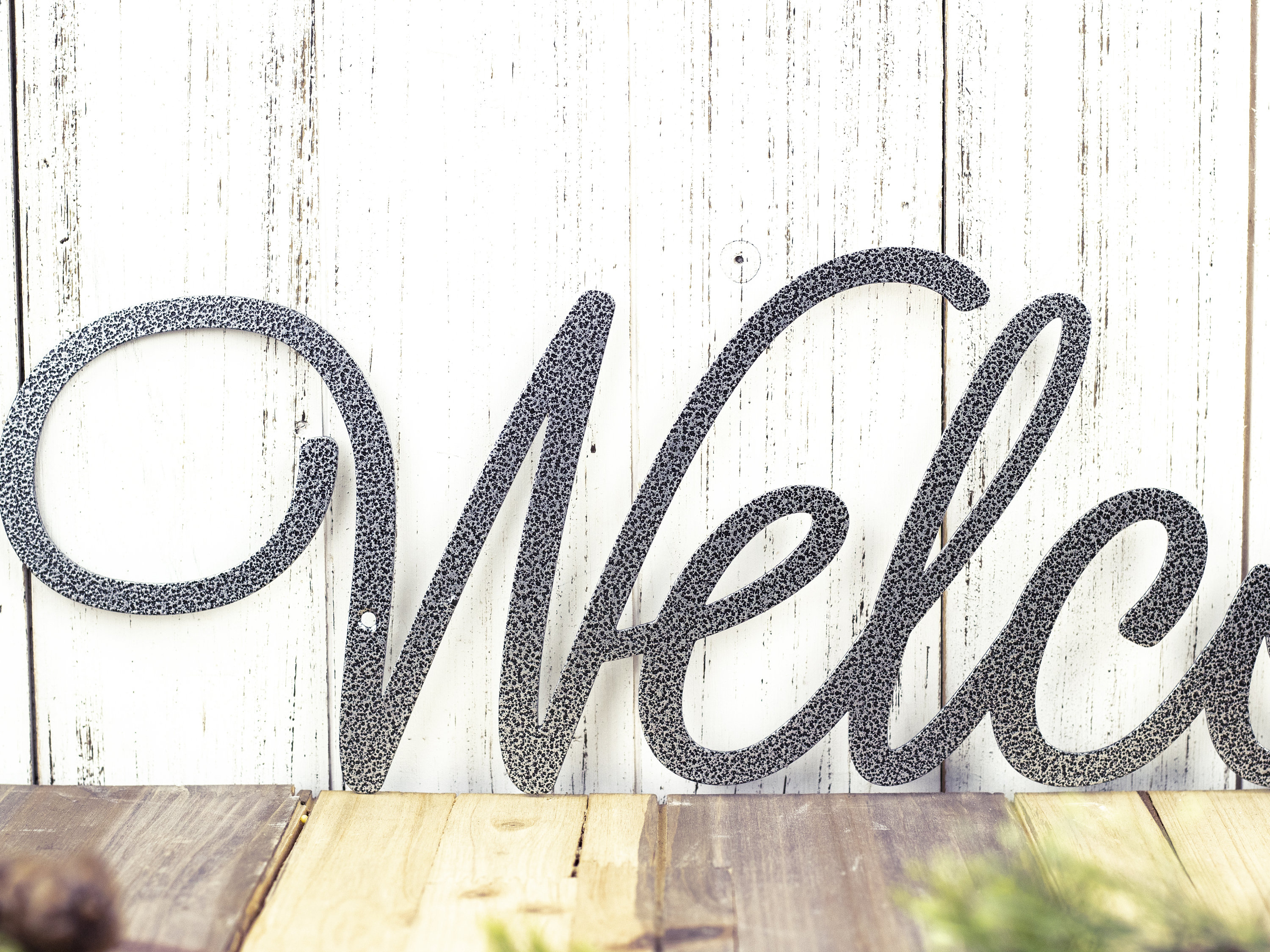 """Welcome Script Metal Sign - Silver, 22X5.5, Word Art, Wall regarding In-A-Word """"welcome"""" Wall Decor (Image 25 of 30)"""
