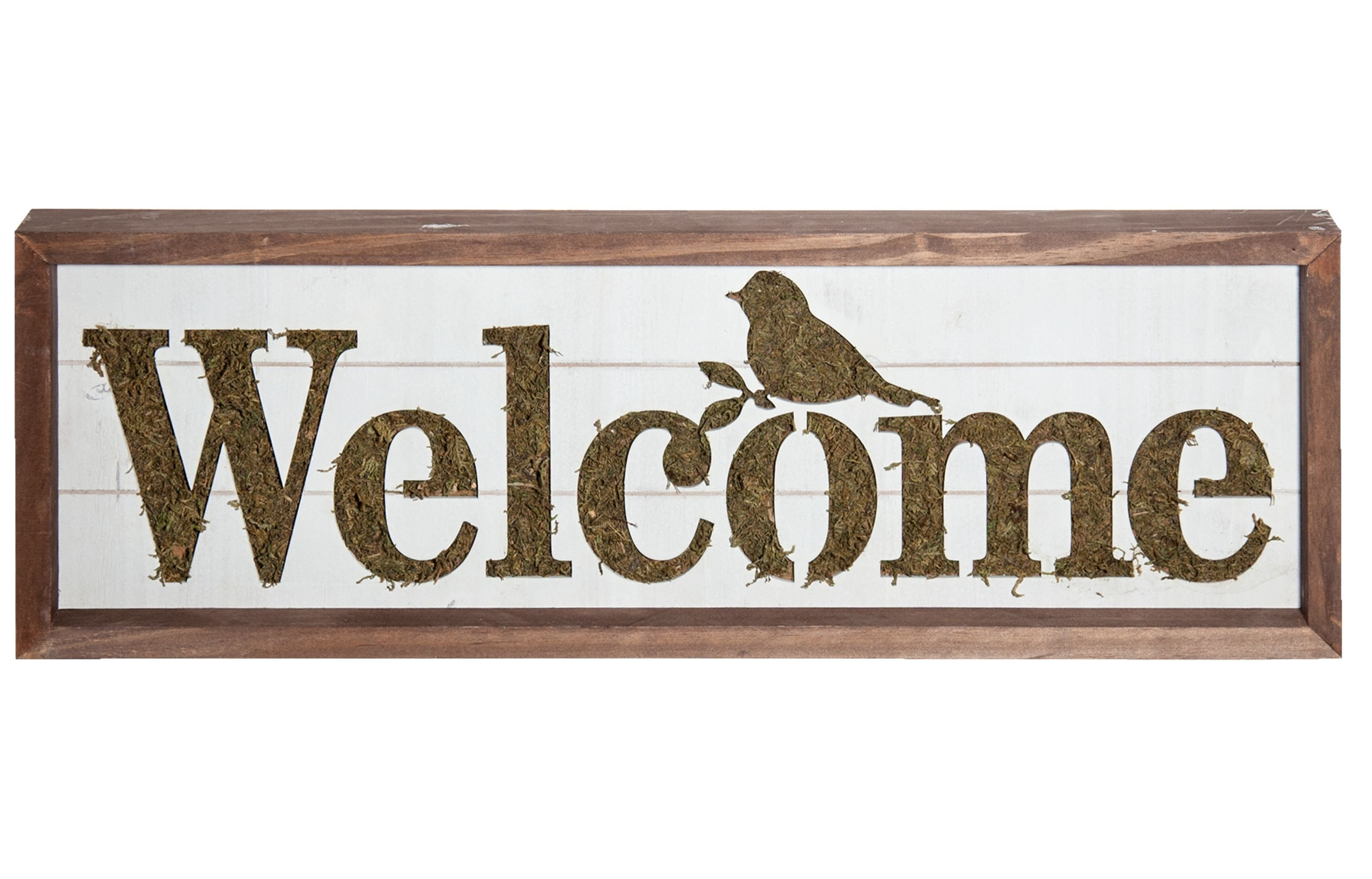 """Welcome Sign With Moss Accent Wall Décor inside In-a-Word """"welcome"""" Wall Decor (Image 26 of 30)"""