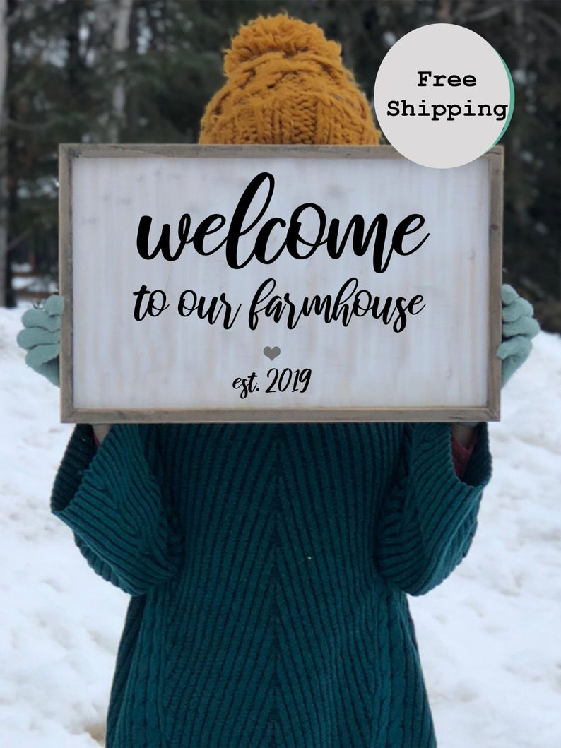 Welcome Sign | Wood Framed Sign | Welcome Decor | Home Wall Art | Entryway Sign Entryway Wall Decor Welcome Sign For Home Housewarming Gift With Tree Welcome Sign Wall Decor (View 20 of 30)