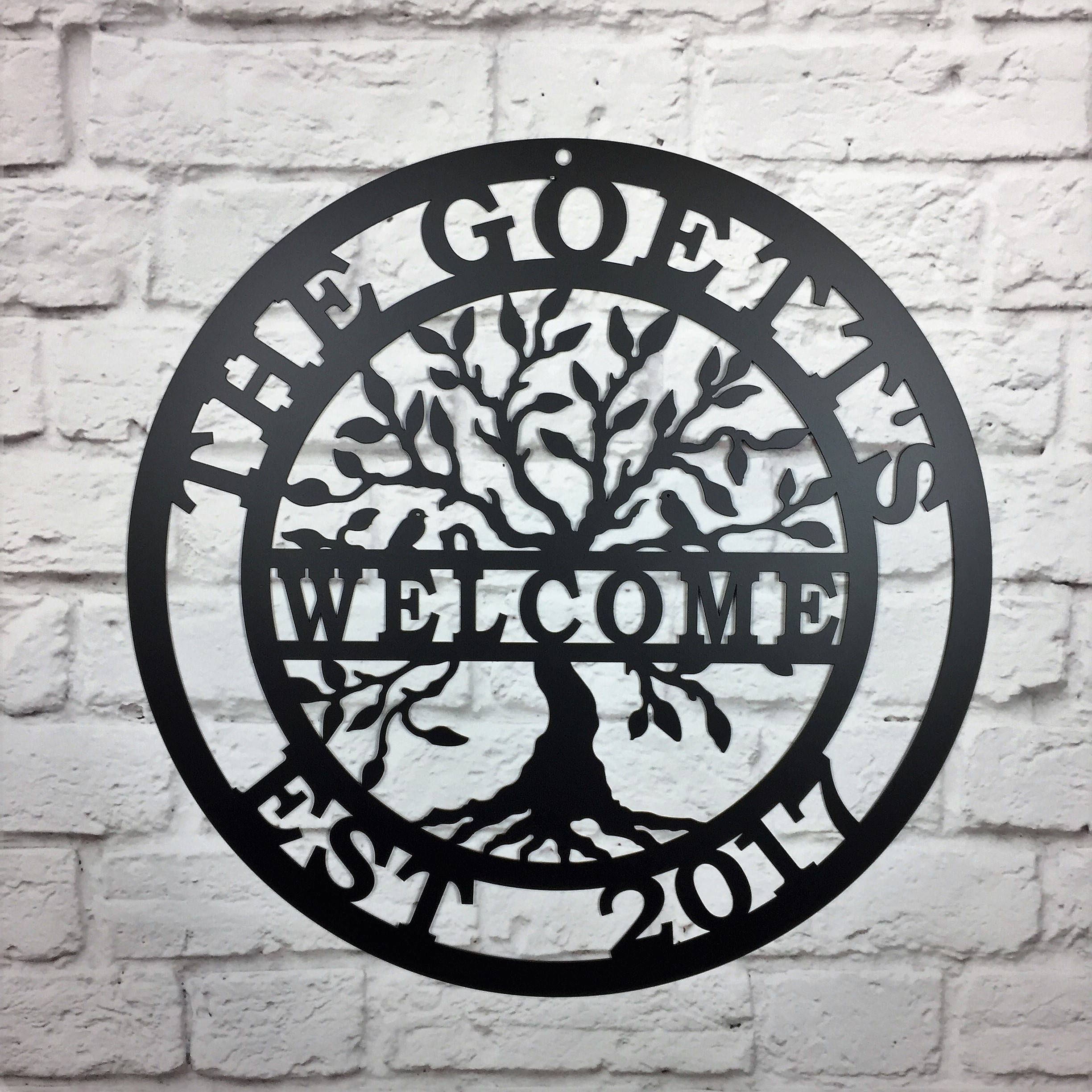 Welcome Tree Of Life With Name, Wall Family  | Idealpin regarding Tree Welcome Sign Wall Decor (Image 26 of 30)